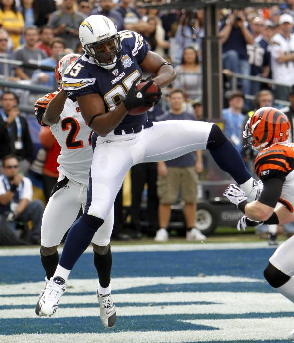 San Diego Chargers Antonio Gates catches a three-yard touchdown pass in the first quarter of an NFL football game against the Cincinnati Bengals Sunday, Dec. 20, 2009, in San Diego. (AP Photo/Lenny Ignelzi)
