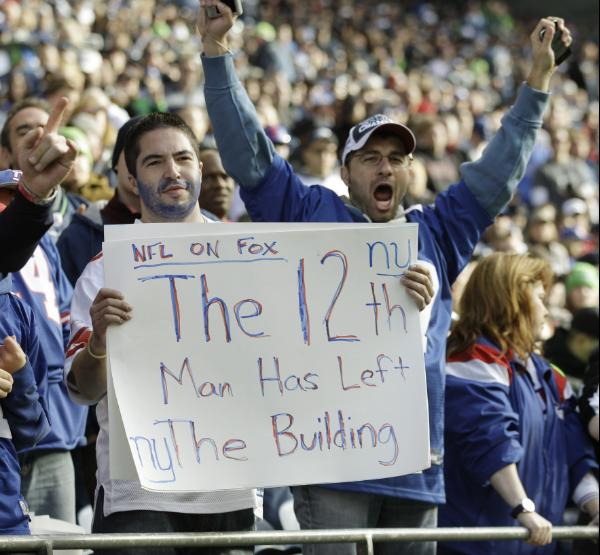 Giants fans taunt the Seahawks in their own house.