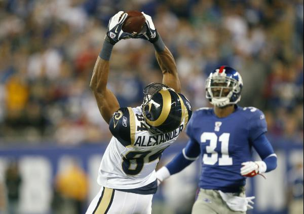 Danario Alexander skies for a catch against the Giants