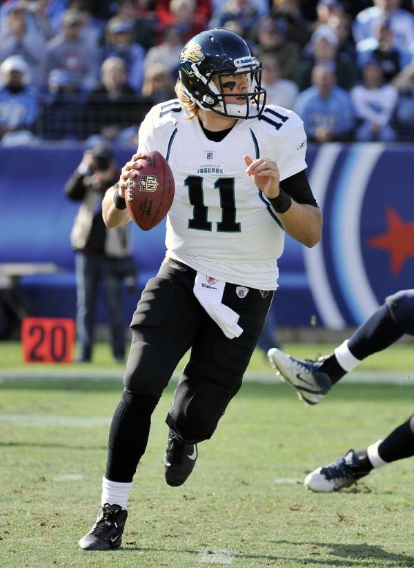 From NFL.com -- Jacksonville Jaguars quarterback Blaine Gabbert (11) scrambles against the Tennessee Titans in the first quarter of an NFL football game on Saturday, Dec. 24, 2011, in Nashville, Tenn. (AP Photo/Frederick Breedon)