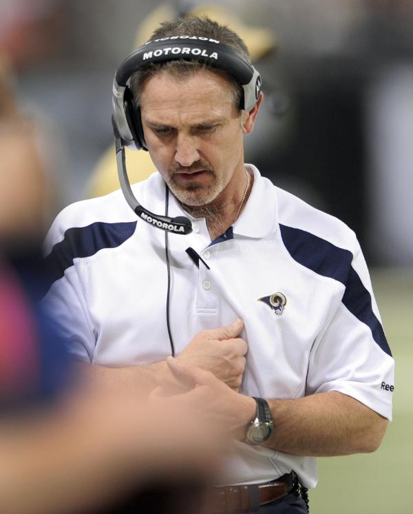 Steve Spagnuolo in a Rams headset for the last time.