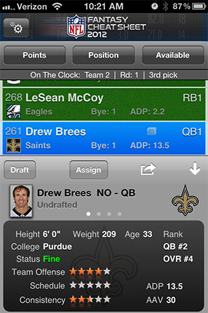 NFL Fantasy Cheat Sheet Screenshot 1