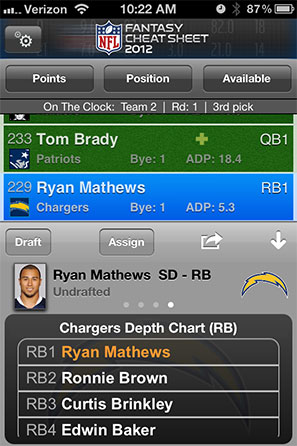 NFL Fantasy Cheat Sheet Screenshot 3
