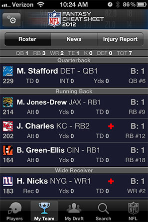 NFL Fantasy Cheat Sheet Screenshot 4