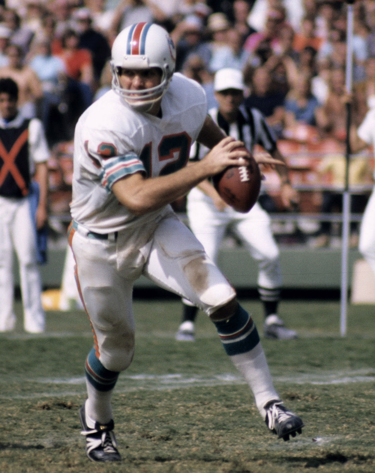 The Dolphins selected Griese out of Purdue with the fourth overall pick (one pick after the 49ers selected Heisman Trophy winner Steve Spurrier) and he became the leader of the Dolphins offense. Griese led the Dolphins to three consecutive Super Bowl appearances, including a relief appearance of Earl Morrall to cap Miami's perfect season in 1972. Griese and the Dolphins were even better in 1973, as they won a second consecutive Super Bowl. Griese was elected to the Pro Football Hall of Fame in 1990.
