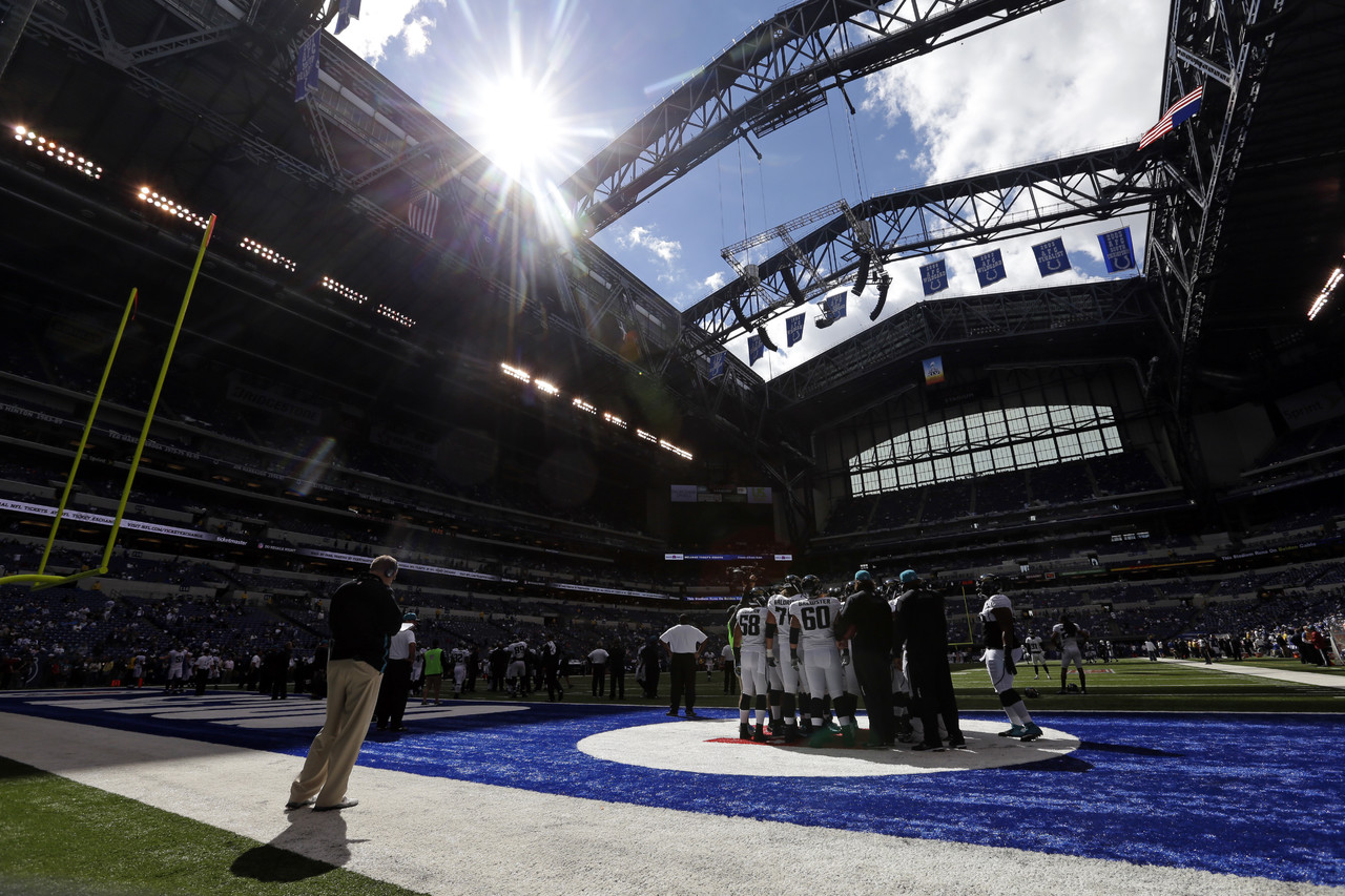 The Jaguars huddle before the start of their game against the Colts in Indianapolis. (AP Photo/Darron Cummings)