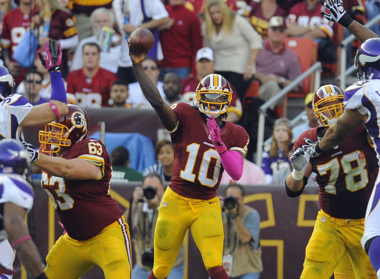 First Mike Shanahan said the season was over, and then he said it wasn't. Hey, Rex Ryan went to the AFC Title game three years ago after thinking his team was officially eliminated from contention. But the Redskins aren't as talented as the 2009 Jets. If their season isn't dead now, it will be after the bye when they have their Eagles/Cowboys/Giants gauntlet. RG3 has slowed the last couple of weeks, and I think you'll see a similarity to Cam Newton's 2011 where he fell off a bit as the season got long. Will Shanahan be around in 2013? Probably, because RG3 is a star. If he had sputtered, we'd have said a big D.C. hello to Jon Gruden in early January.