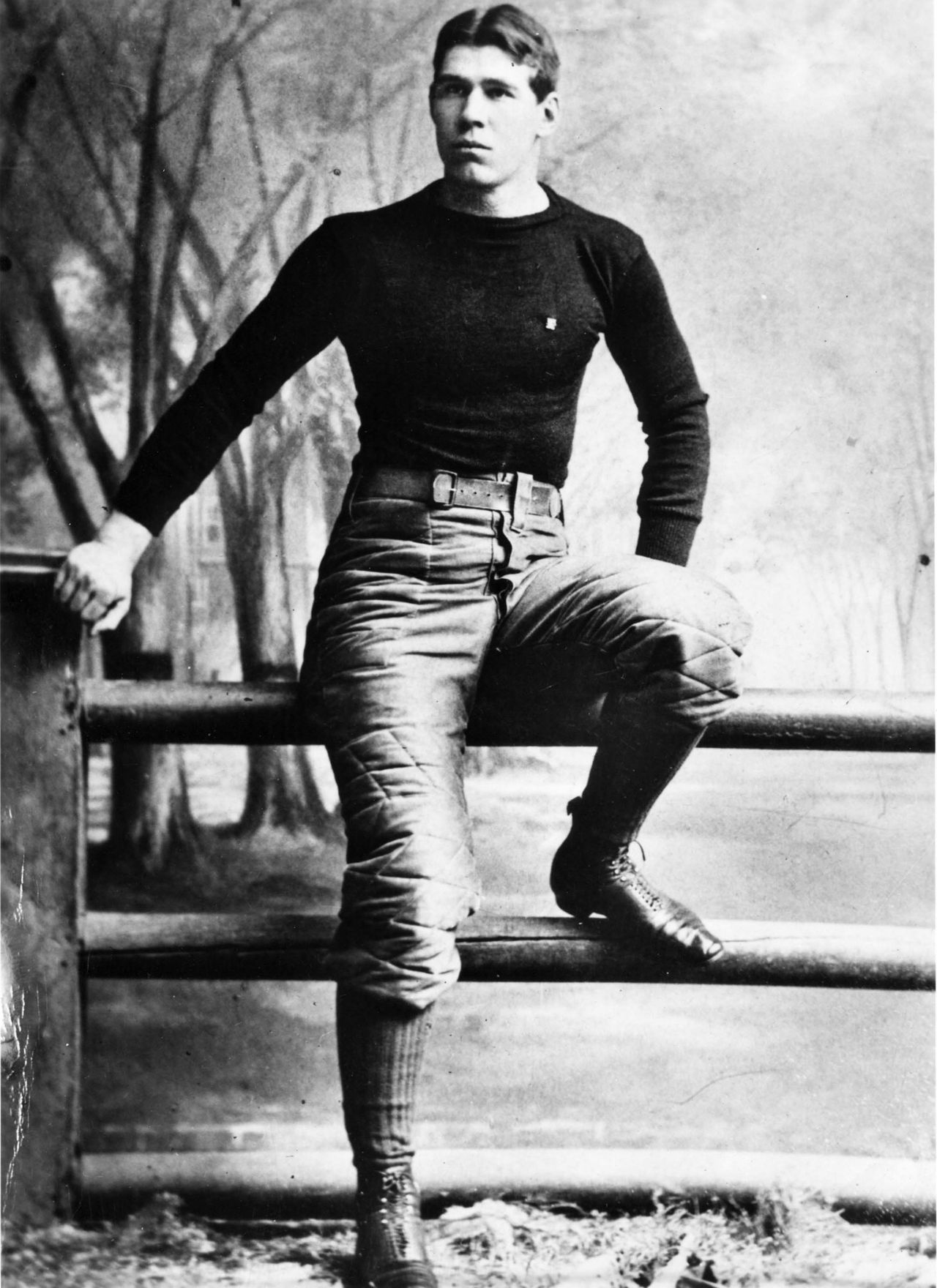 "William ""Pudge"" Heffelfinger is considered to be the first professional football player. For a game against the Pittsburgh Athletic Club, the Allegheny Athletic Association football team paid Heffelfinger $500. While it's entirely possible athletes were paid to play football before this historic day, <a href=""http://www.profootballhof.com/history/general/birth_certificate.aspx"" target=""new"">an accounting ledger</a> provides documented proof that Heffelfinger was paid to play football. Heffelfinger was worth the expense, as he recovered a fumble and returned it for a touchdown for the game's only score in a 4-0 Alleghany Athletic Club triumph."