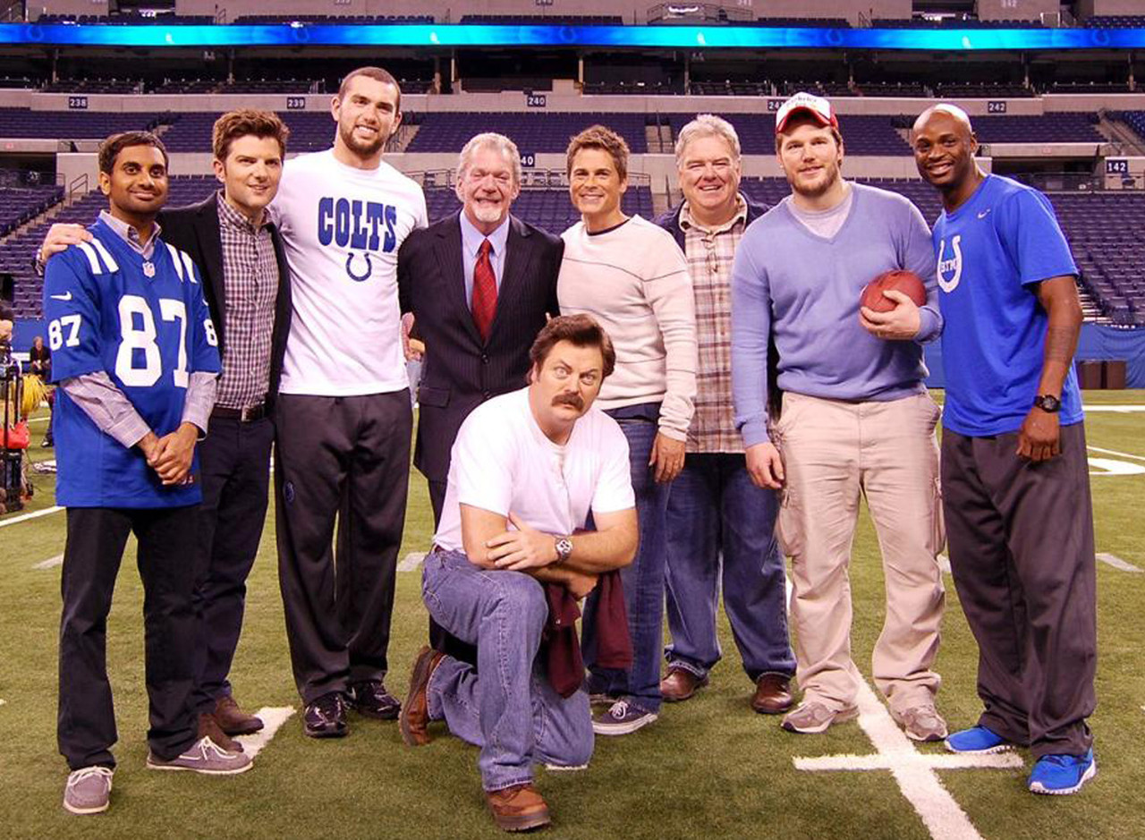 "Andrew Luck, Reggie Wayne, Jim Irsay and other Colts appeared in the hilarious episode ""Flouride"" in season 6 of ""Parks and Recreation."" Author's note - I actually once texted with Rob Lowe and he didn't mention the Colts. I know, I name-dropped, but when am I ever going to get ""I texted with Rob Lowe"" into a conversation naturally? That's a tough needle to thread."
