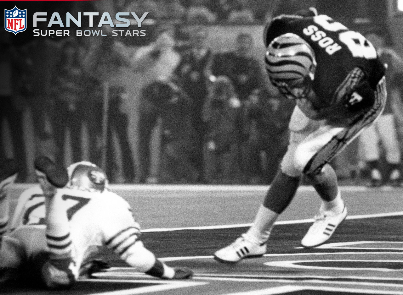 Ross, the lone tight end to post double-digit receptions and 100-plus yards in a Super Bowl, hauled in 11 balls for 104 yards and scored twice in a 26-21 loss to the San Francisco 49ers. He found the end zone on passes of 4 and 3 yards, and finished with 22.4 points. Had fantasy football been popular in his time, Ross would have been a top option.
