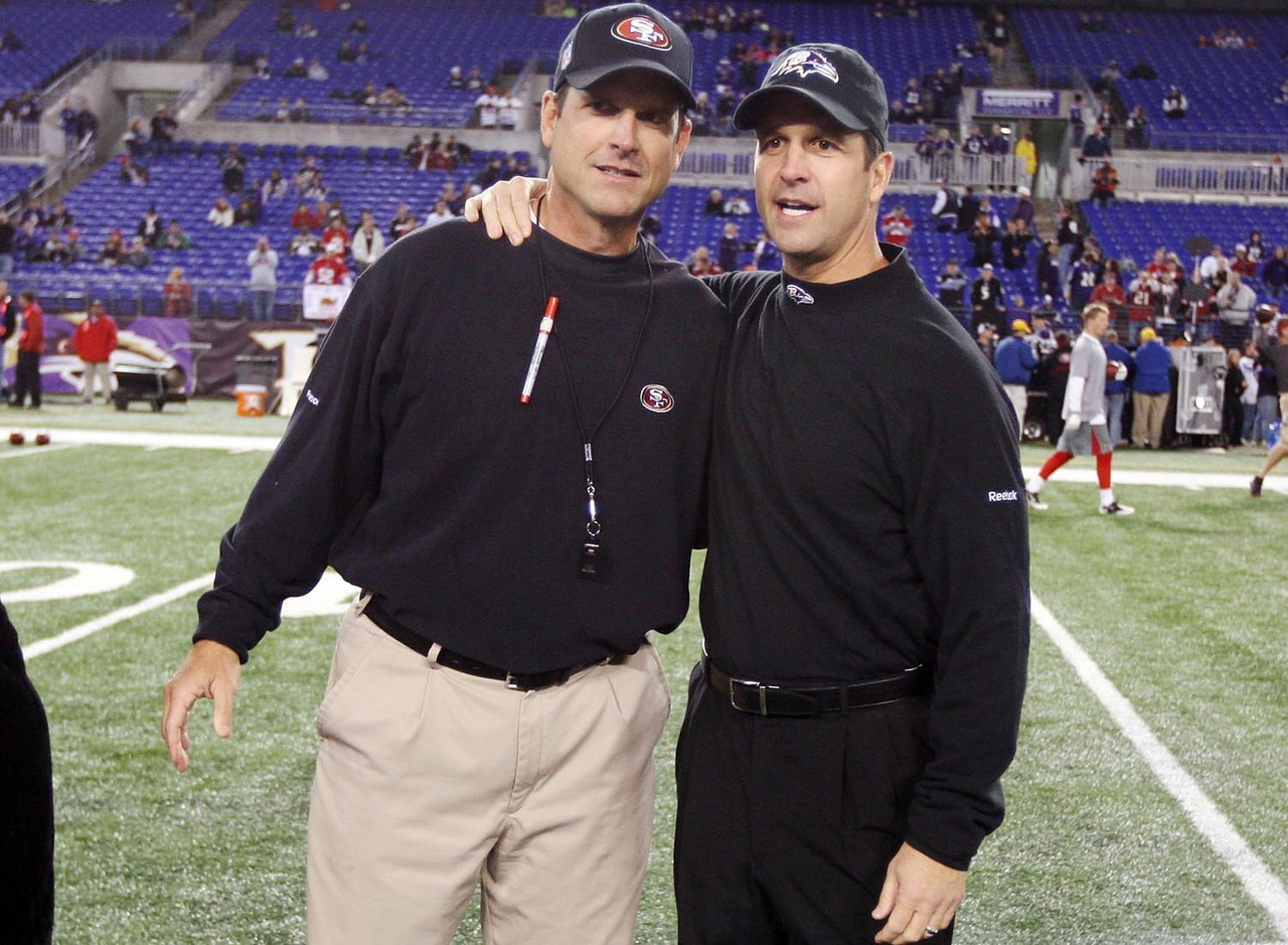 "Brothers Jim and John Harbaugh met once before as NFL head coaches. <a href=""http://www.nfl.com/gamecenter/2011112402/2011/REG12/49ers@ravens"" target=""new"">On Thanksgiving Day of 2011</a>, John's Baltimore Ravens defeated Jim's San Francisco 49ers, 16-6.  The Ravens sacked 49ers quarterback Alex Smith nine times in the game, their highest sack total in 92 games under John Harbaugh.  It is also the most sacks allowed by the 49ers in 36 games under Jim Harbaugh."