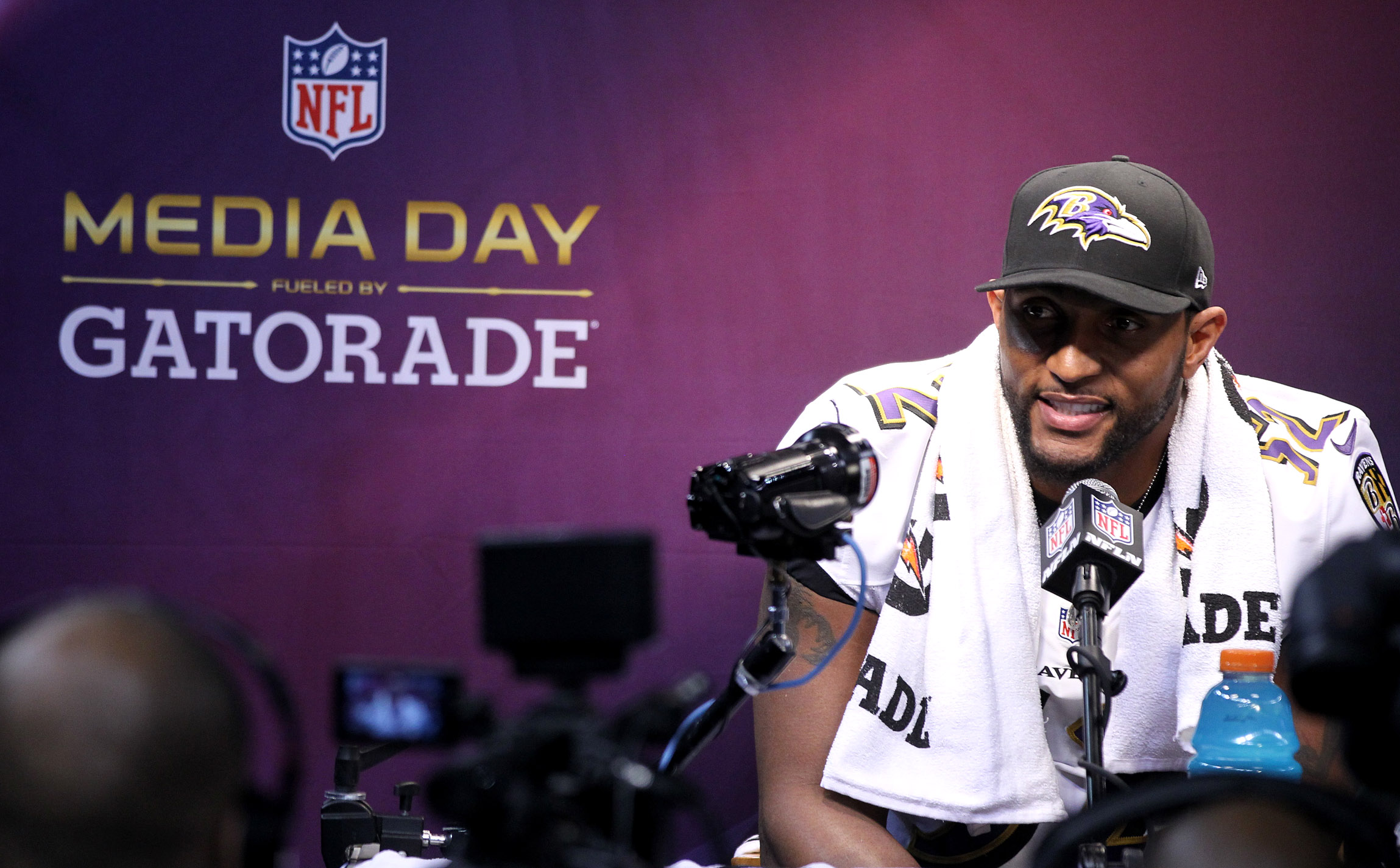 Baltimore Ravens linebacker Ray Lewis during the Super Bowl XLVII Media Day at the Superdome on Tuesday, January 29, 2013 in New Orleans, LA. (Perry Knotts/NFL)