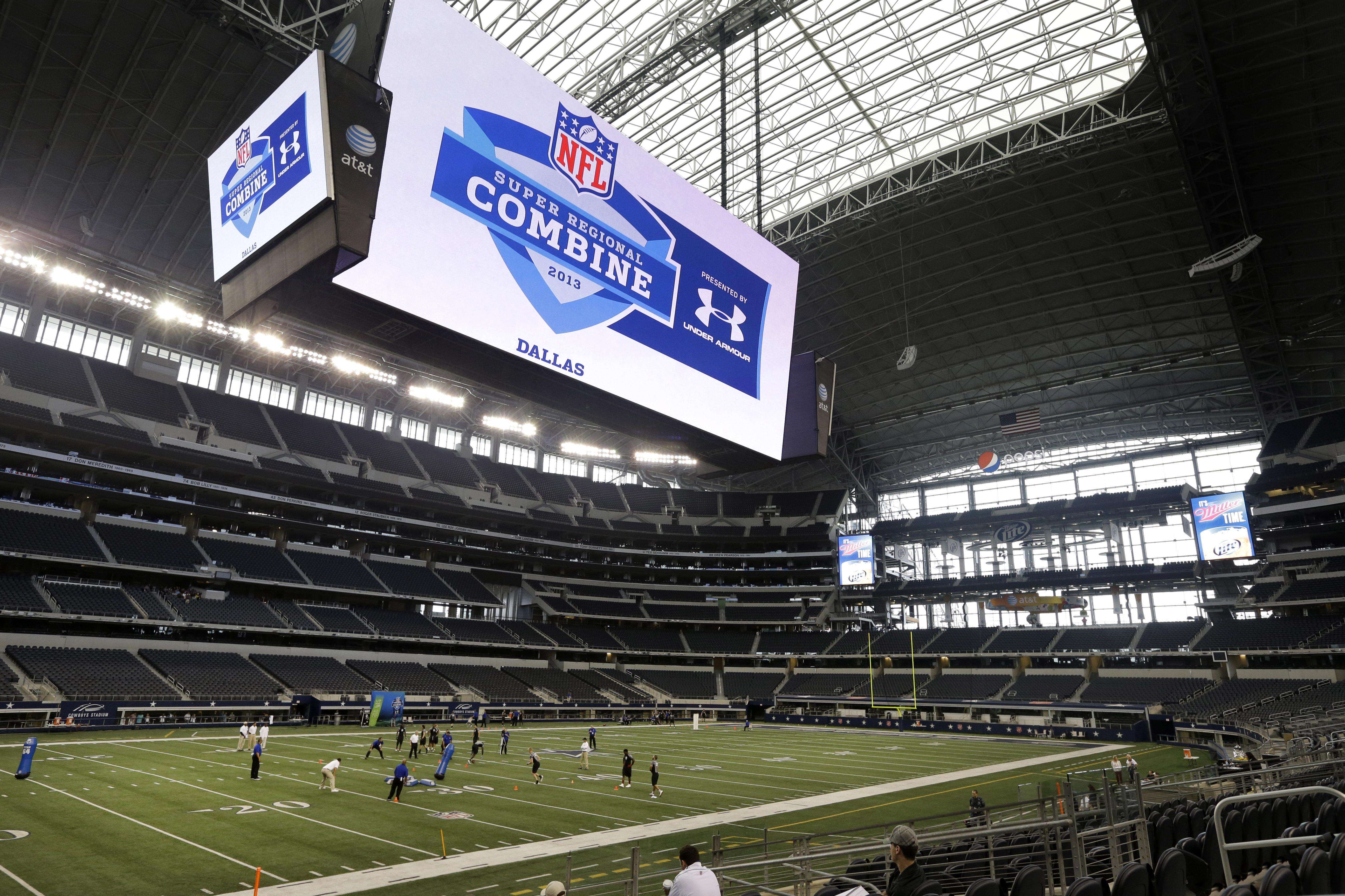 Athletes participate in the NFL super regional football combine at Cowboys Stadium Sunday, April 7, 2013, in Arlington, Texas. (AP Photo/Tony Gutierrez)