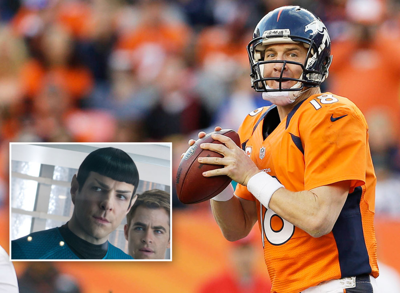 Spock is the calm, collected and highly logical first officer of the Starship Enterprise, who uses his intelligence to guide the Enterprise to safety. Similarly, Manning has arguably the best football mind in the NFL, and he uses his knowledge to guide the Broncos to victory on Sundays. If only Manning could use his knowledge to cover Jacoby Jones, too. That would have been great.
