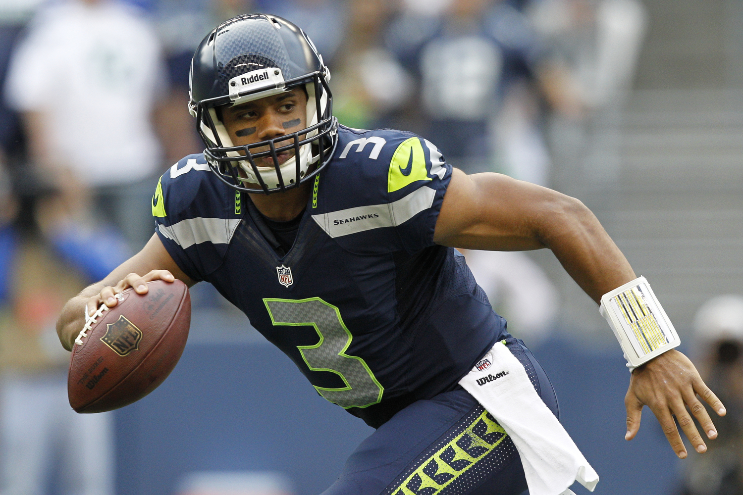 2012 NFL Draft, third round, Seattle Seahawks -- Wilson has played three seasons for the Seahawks (2012-14), leading the team to two consecutive Super Bowl appearances, including the franchise's first Super Bowl triumph, a 43-8 rout of the Denver Broncos in Super Bowl XLVIII. (Ric Tapia/NFL)