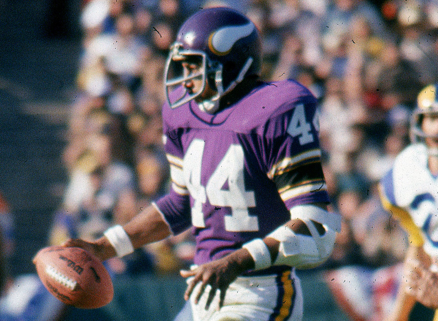1973 NFL Draft, first round, Minnesota Vikings -- Foreman played seven seasons for the Vikings (1973-79) and one season for the New England Patriots (1980). He was a five-time Pro Bowl selection and a member of three Vikings teams that advanced to the Super Bowl. (National Football League)