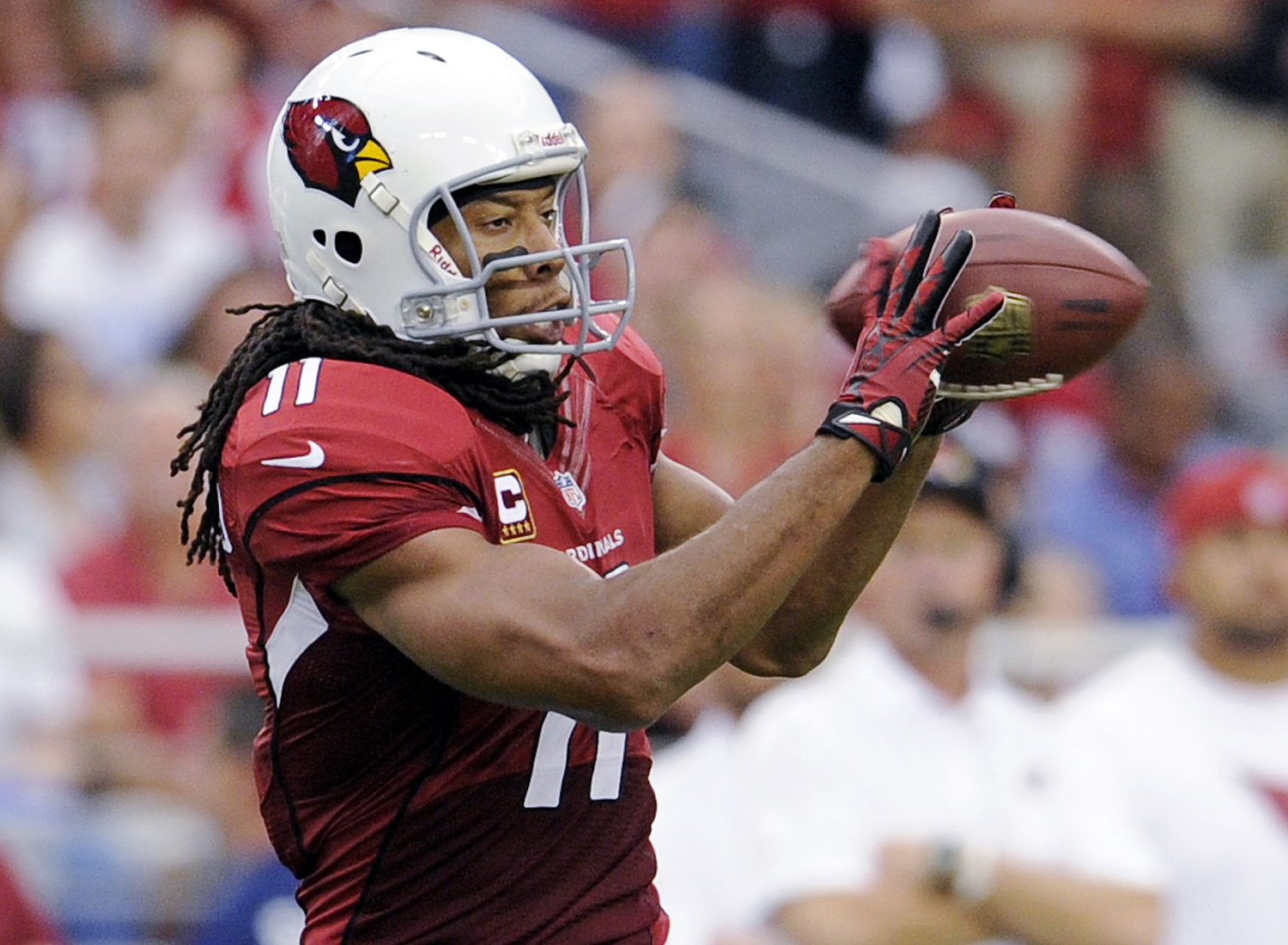 2004 NFL Draft, first round, Arizona Cardinals -- Fitzgerald has played 11 seasons for the Arizona Cardinals (2004-14). He is a eight-time Pro Bowl selection and was a vital part of helping the Cardinals advance to Super Bowl XLIII. (AP Photo/Greg Trott)