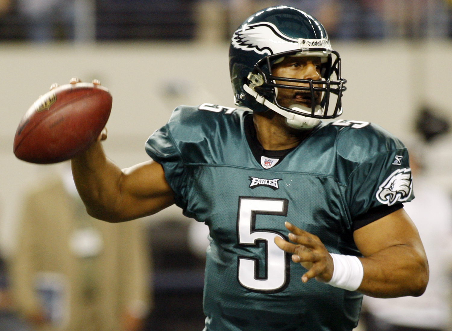 1999 NFL Draft, first round, Philadelphia Eagles -- McNabb played 11 seasons for the Eagles (1999-2009), one season for the Washington Redskins (2010) and one season for the Minnesota Vikings (2011). He led the Eagles to Super Bowl XXXIX and was a six-time Pro Bowl selection. (AP Photo/Sharon Ellman)
