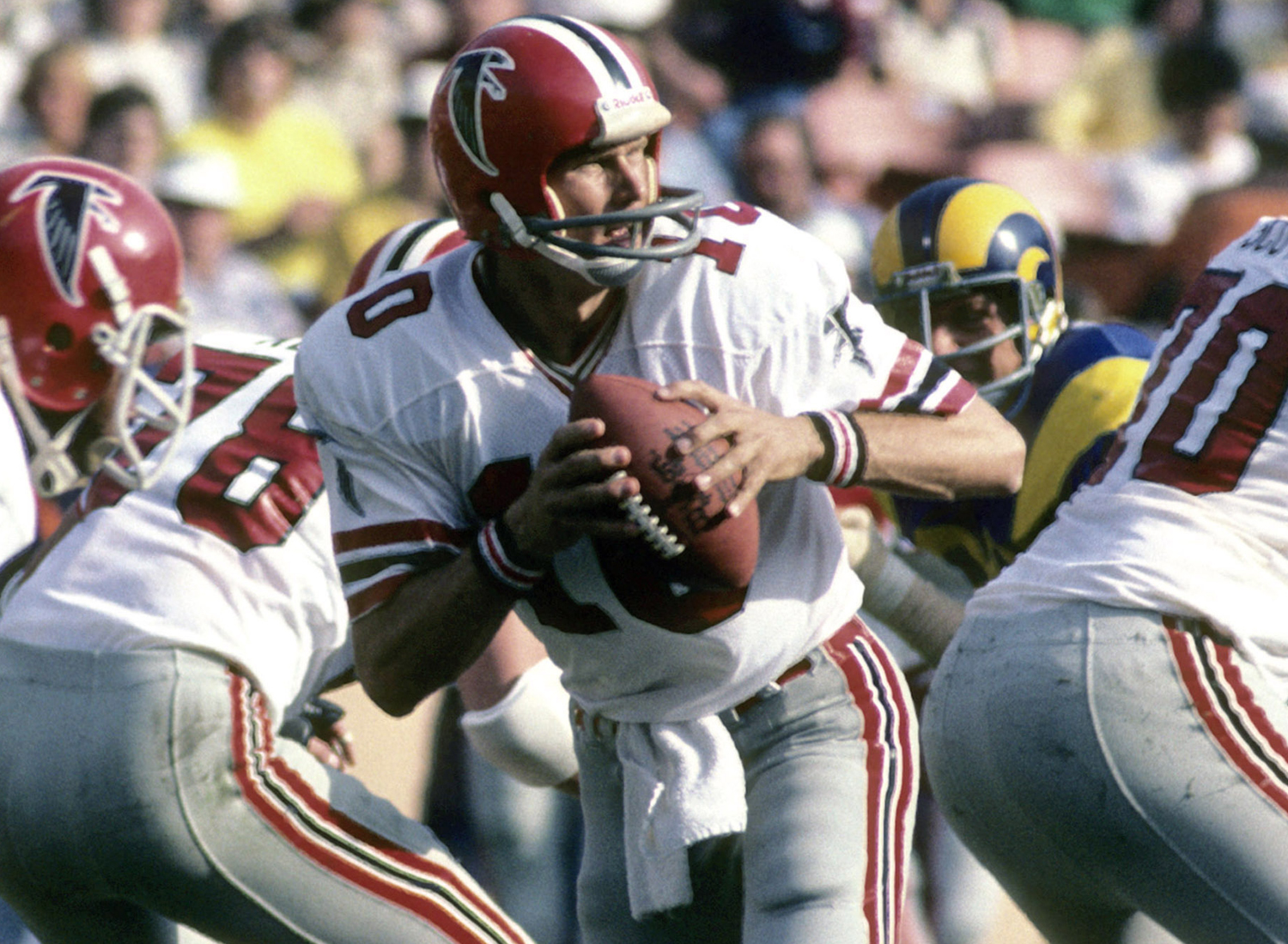 1975 NFL Draft, first round, Atlanta Falcons -- Bartkowski played 11 seasons for the Falcons (1975-1985) and one season for the Los Angeles Rams (1986). He is the Falcons' all-time leading passing yardage leader and was a two-time Pro Bowl selection. (National Football League)