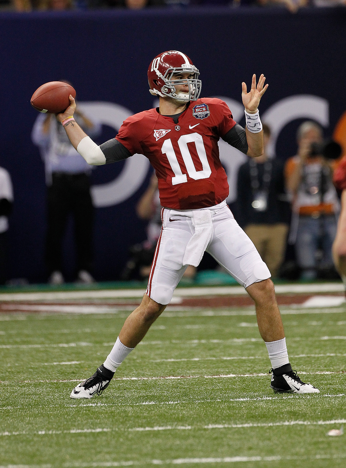McCarron has the height (6-foot-4) and speed (clocked in the 40-yard dash at 4.75 seconds during Alabama's spring junior day) necessary for the position. He completed 67 percent of his passes in 2012 for 30 touchdowns and just three interceptions. This guy is a winner. (AP Photo/Dave Martin)
