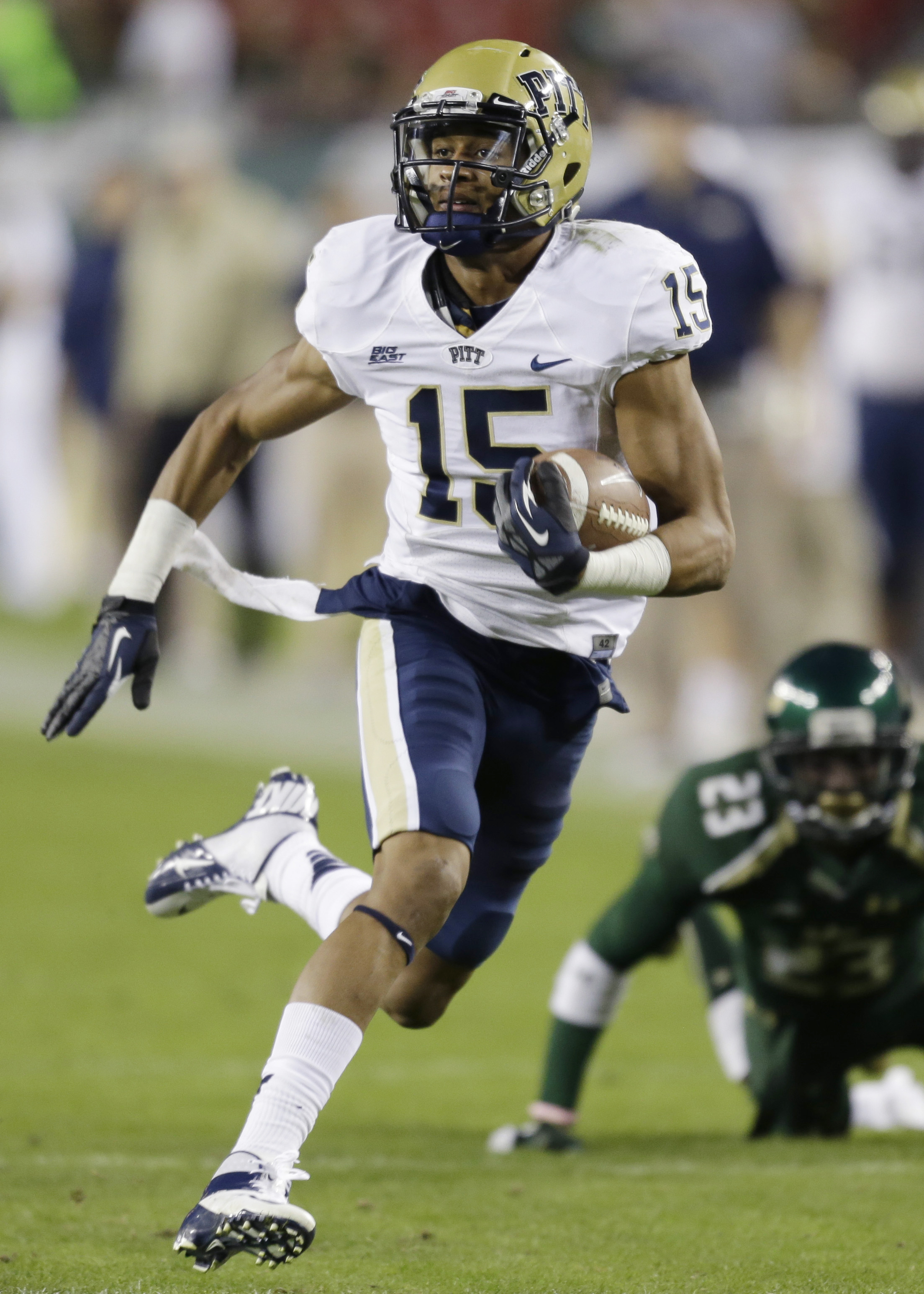 The 6-foot-2 1/2, 189-pound Street runs a 4.55-second 40-yard dash. He caught 73 passes in 2012, but might not do as well in 2013 with a redshirt freshman (Chad Voytik) likely taking over at quarterback. (AP Photo/Chris O'Meara)