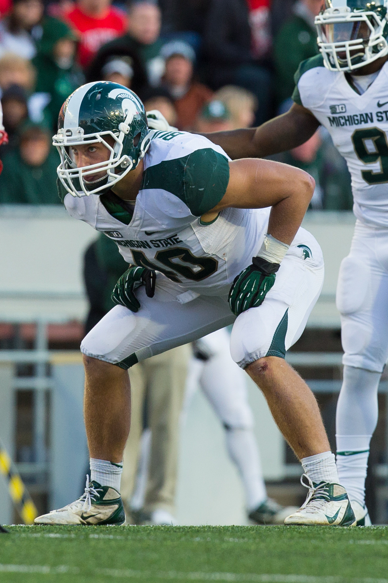 The Bullough name has been a part of Spartan football for many years, with Max as a third-generation player at Michigan State. Bullough (6-foot-3, 250 pounds) was the leading tackler on his team with 112 tackles in 2012. He is very good at taking on blockers and anticipating plays. Bullough -- who runs the 40-yard dash in 4.8 seconds -- has started 27 consecutive games. (Mandatory Credit: Jeff Hanisch-US PRESSWIRE)