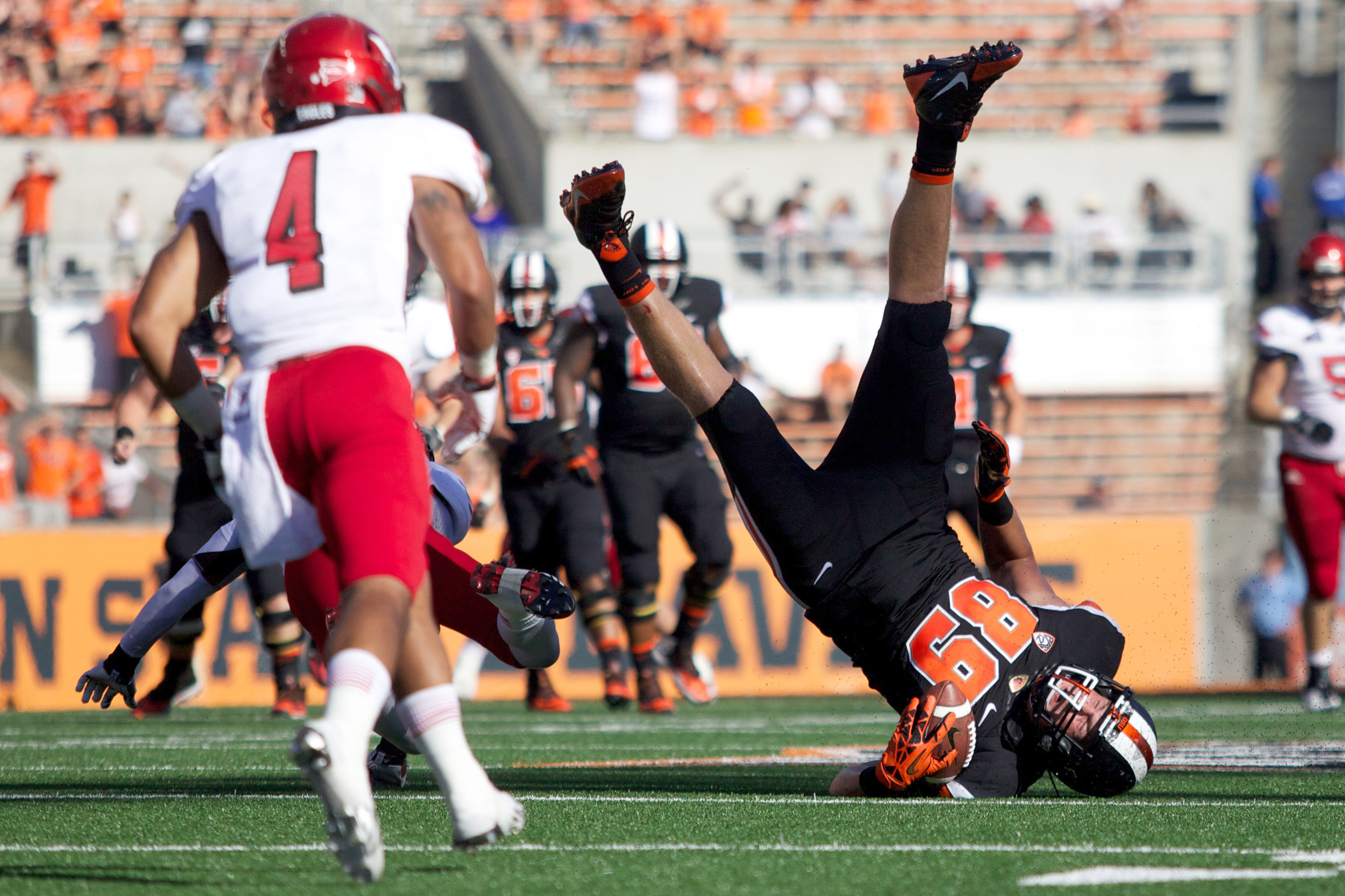 Oregon State Beavers tight end Connor Hamlett falls head first after being tripped up against Eastern Washington. Oregon State was upset, 49-46, by Eastern Washington. (Jaime Valdez/USA TODAY Sports)