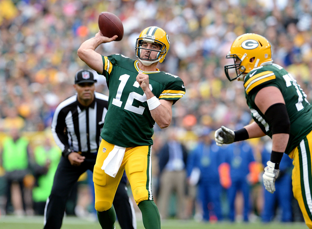 Aaron Rodgers is averaging 406.5 passing yards per game through two games, with seven touchdowns and one interception. Against the Washington Redskins in Week 2, Rodgers threw for 335 yards in the first half alone. Sunday, he faces a Bengals defense that has gone 16 consecutive games without allowing a 300-yard passer -- the longest such active streak in the NFL.
