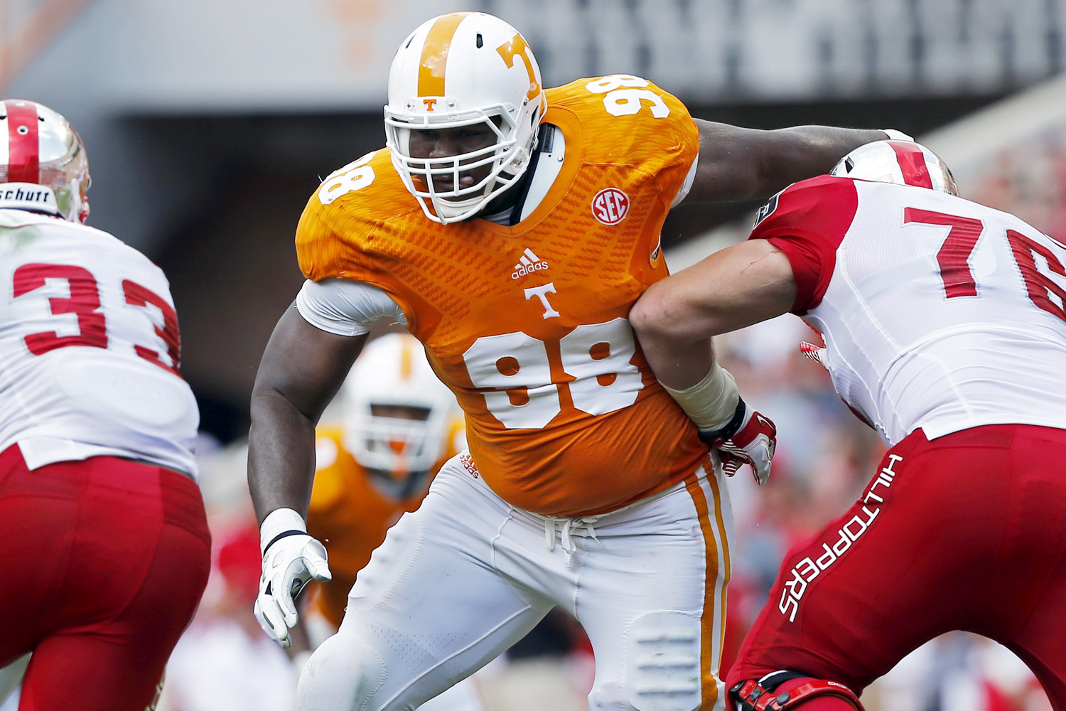 <b>6-foot-8, 351 pounds</b> <br><br> <strong>The defender:</strong> McCullers is the lone defensive player in our look around some of the SEC's biggest men. Rated the No. 4 senior NFL draft prospect in the nation by NFL Media senior analyst Gil Brandt, the nose guard came to Vol Country from Georgia Military College at nearly 400 pounds. He's since trimmed down, but remains the SEC's biggest defensive player.
