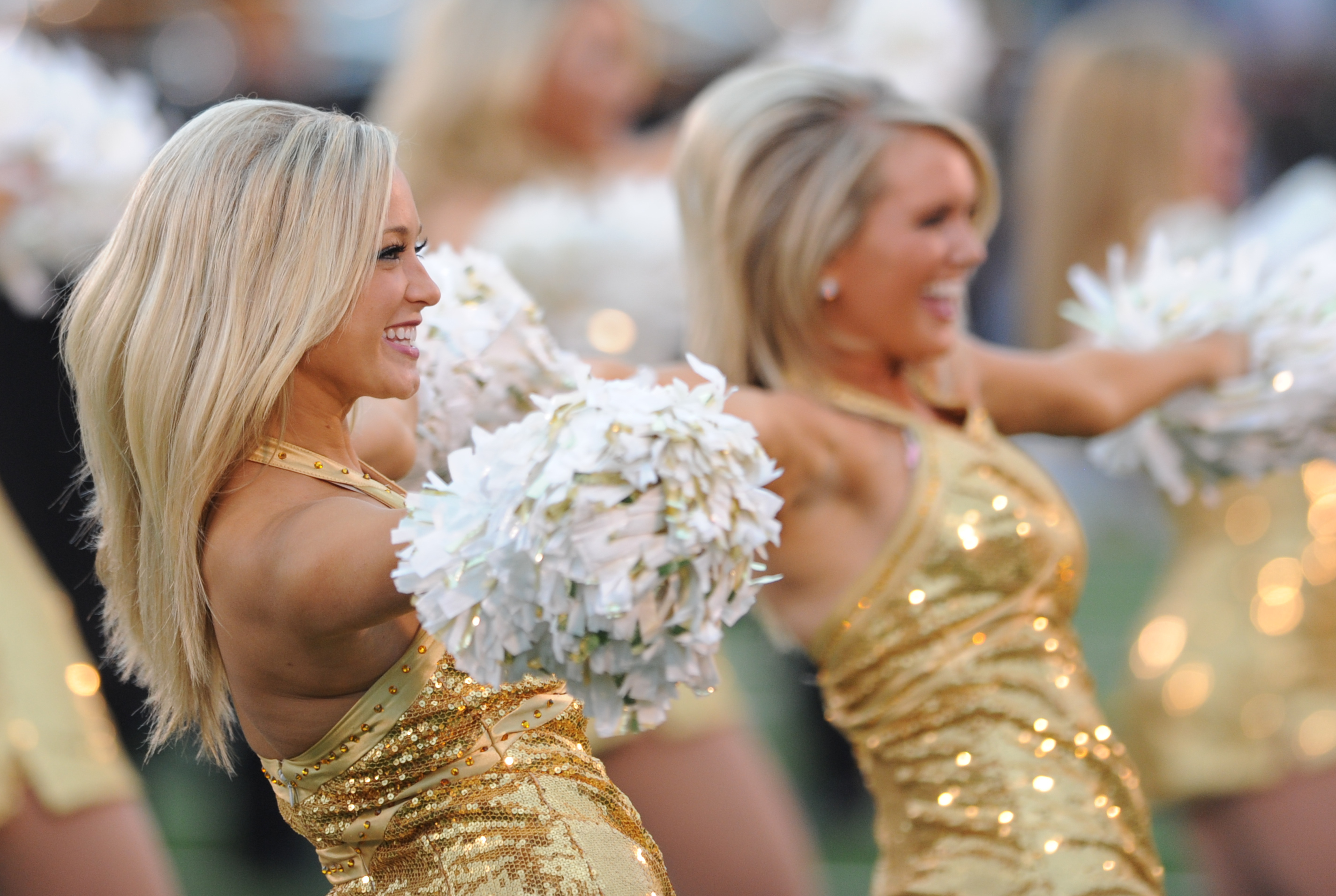 Cheerleaders perform during the first half of an NCAA college football game between Missouri and Alabama Saturday, Oct. 13, 2012, in Columbia, Mo. (AP Photo/L.G. Patterson)
