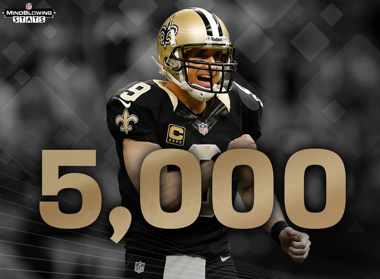Drew Brees has passed for 3,369 yards, 26 TDs and 8 INTs this season. He is on pace for 5,390 yards, which would make him the only player with four 5,000 yard-yard seasons in NFL history. Heading into this season, Brees could boast that he was the first player with three consecutive 4,500-yard seasons in NFL history, the first player with back-to-back 5,000-yard seasons, and the only player with three 5,000-yard seasons.
