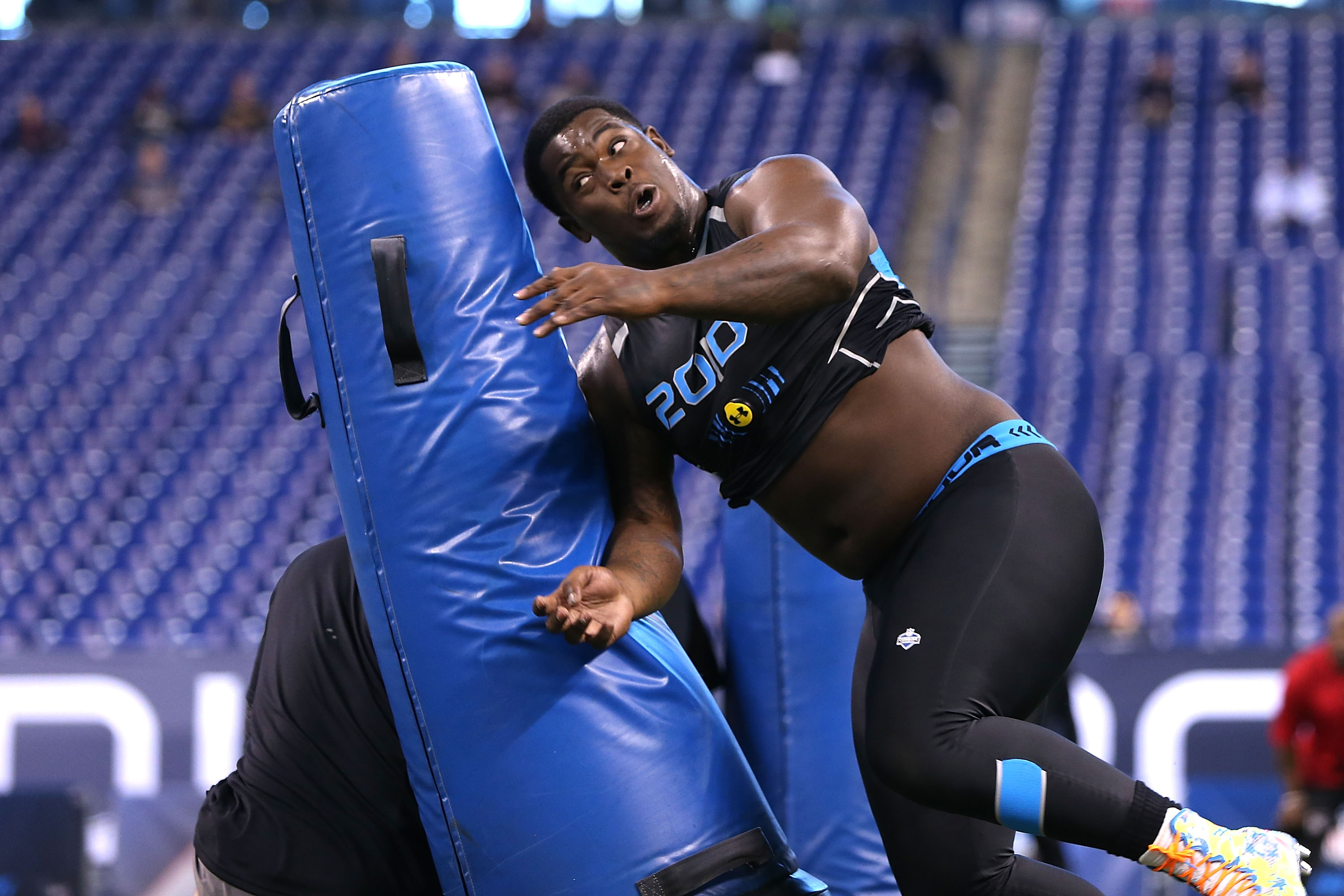 Florida State University defensive nose tackle Timmy Jernigan runs through drills at the 2014 NFL Scouting Combine at Lucas Oil Stadium in Indianapolis, on February 24, 2014. (Ben Liebenberg/NFL)