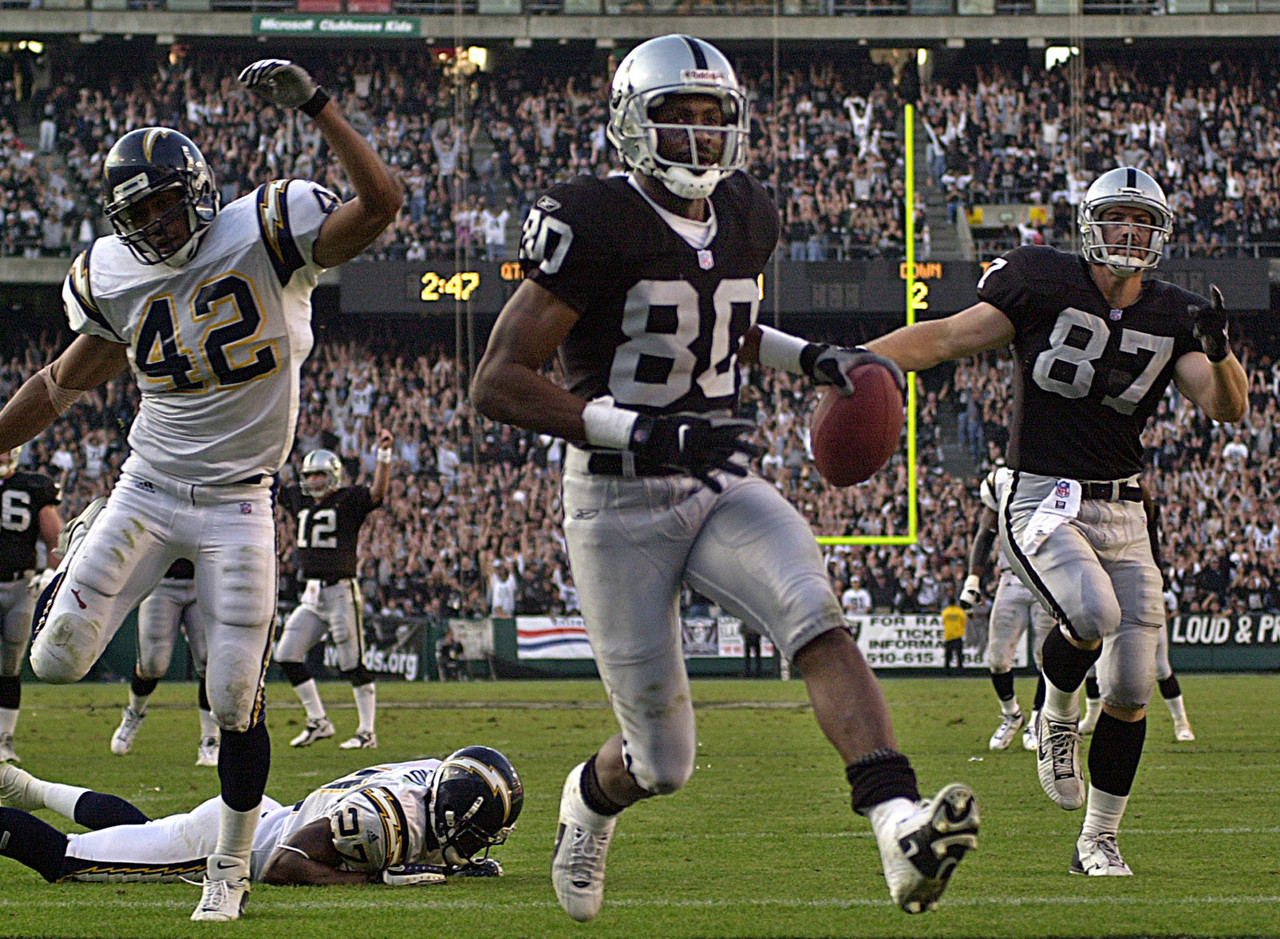 "The Raiders already boasted a talented offense when the team added Rice -- arguably the greatest player in NFL history -- into the mix in 2001. Rice was in the twilight of his glorious career, but still posted two more 1,000-yard receiving seasons to add to his NFL-record 14 such seasons. The move paid huge dividends for the Raiders, who experienced their last seasons of glory while Rice was on the team. In 2001, the Raiders were AFC West champions but lost in the infamous ""Tuck Rule"" game. In 2002, the Raiders advanced to the Super Bowl, which remains the last playoff game the franchise has played in."