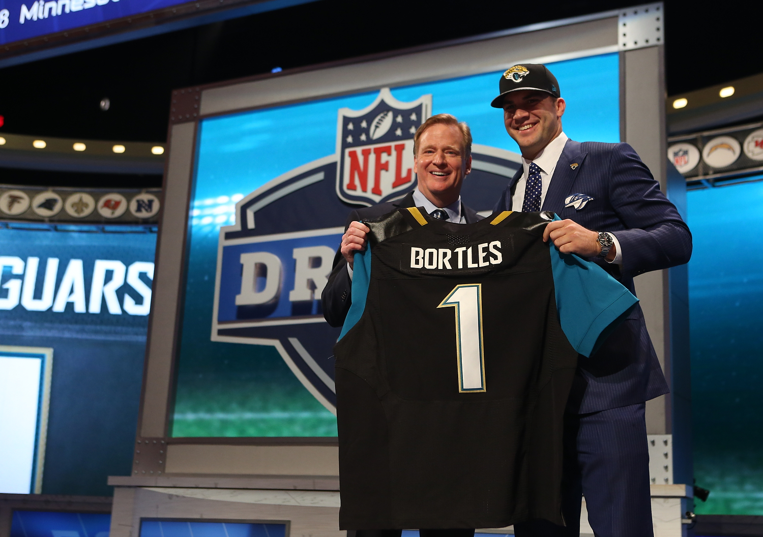 Blake Bortles and Roger Goodell pose for a photo during the 2014 NFL Draft at Radio City Music Hall on May 8, 2014 in New York, NY. (Perry Knotts/NFL)