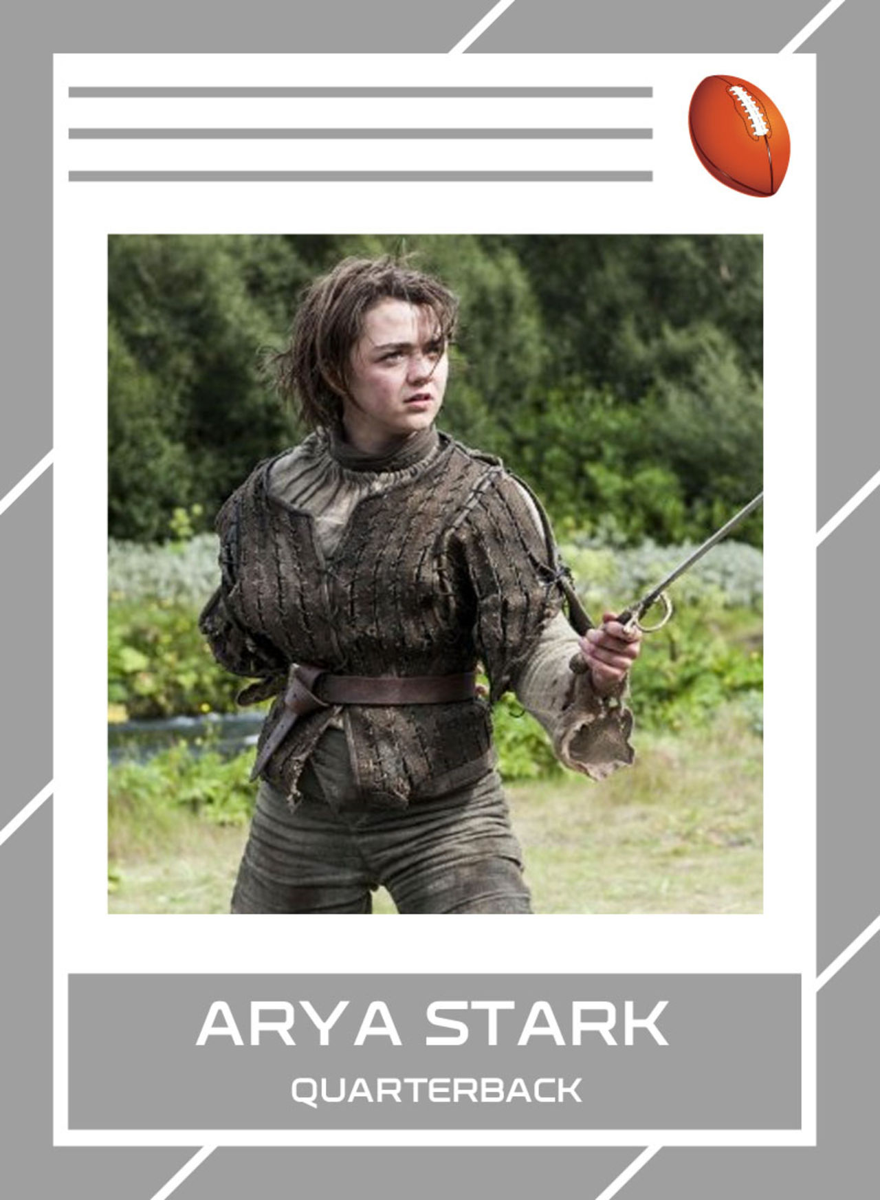 Critics will point to her lack of ideal size to play at the highest level, but Arya is from a family of field generals. Both her royal father Ned's and her royal brother Robb's busts - at least I think those are busts - are already in the Hall of Fame. She displays a chameleon-like ability to alter her style in order to win the situation, unparalleled footwork (thanks to her tutorship under star-making guru Syrio Forel), and an unflinching willingness to go for her opponent's heart.