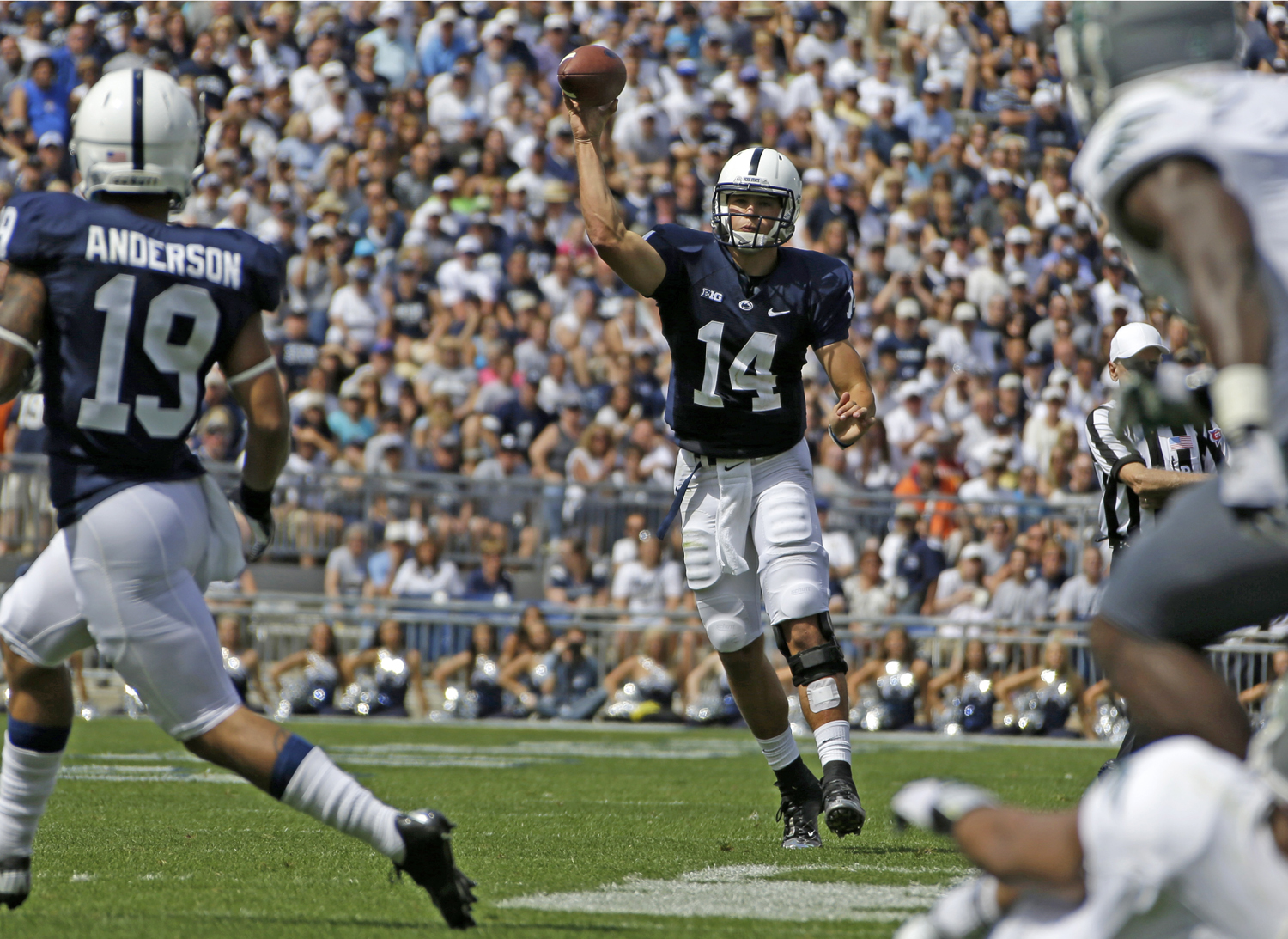 Penn State quarterback Christian Hackenberg (14) throws a pass to Penn State wide receiver Richy Anderson (19) during the second quarter of an NCAA college football game against Eastern Michigan in State College, Pa. Penn State won 45-7. (Gene J. Puskar/Associated Press)