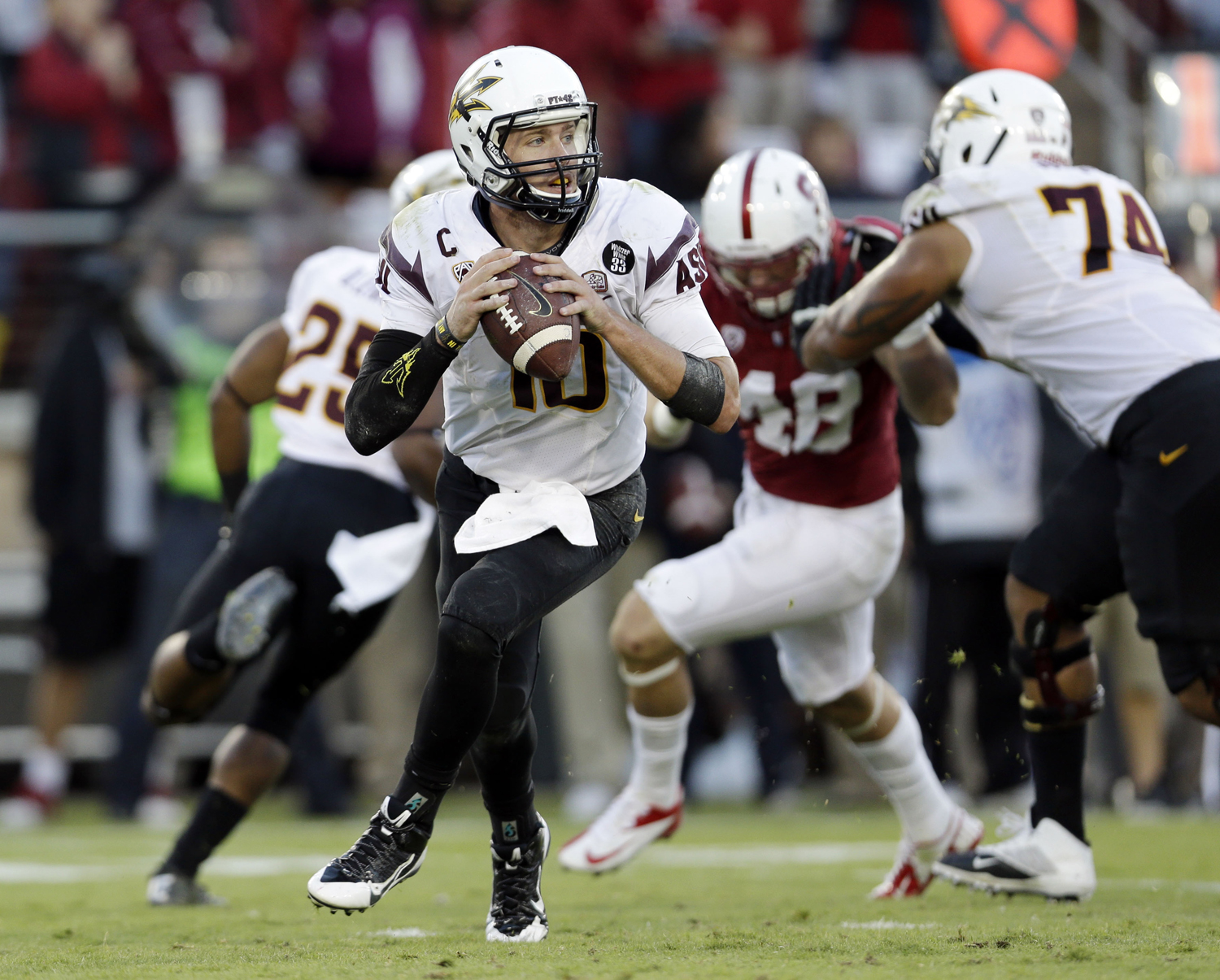 Arizona State quarterback Taylor Kelly during the second half of an NCAA college football game against Stanford in Stanford, Calif. Stanford won 42-28. (Marcio Jose Sanchez/Associated Press)