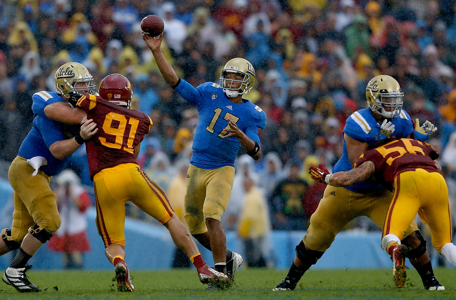 UCLA quarterback Brett Hundley during a NCAA football game against USC at the Rose Bowl in Pasadena, Calif. The Bruins defeated the Trojans, 38-28. (Ben Liebenberg/NFL)
