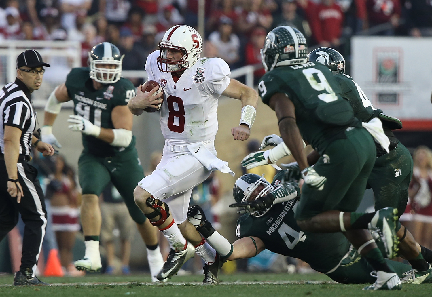 Stanford Cardinal quarterback Kevin Hogan during the 100th Rose Bowl NCAA college football game against the Michigan State Spartans at the Rose Bowl in Pasadena, Calif. (Ben Liebenberg/NFL)