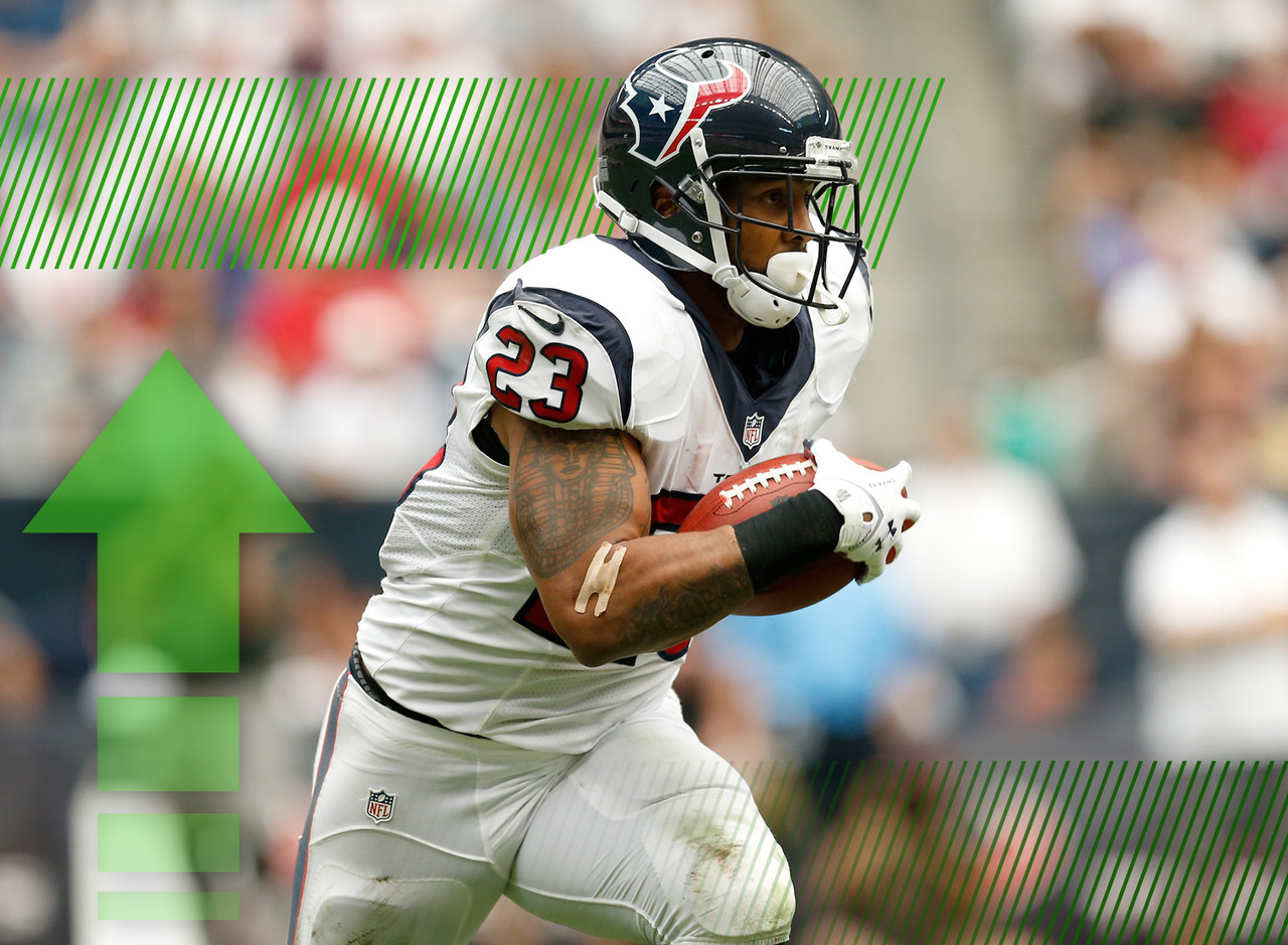 Foster is back to full strength after a procedure on his back, and new coach Bill O'Brien is going to feed his workhorse both as a runner and pass catcher out of the backfield. In fact, he could see somewhere in the neighborhood of 325 total touches as the centerpiece of Houston's offense. The former No. 1 running back in fantasy football, Foster does come with some risk but also has a ton of potential rewards in the stat sheets.
