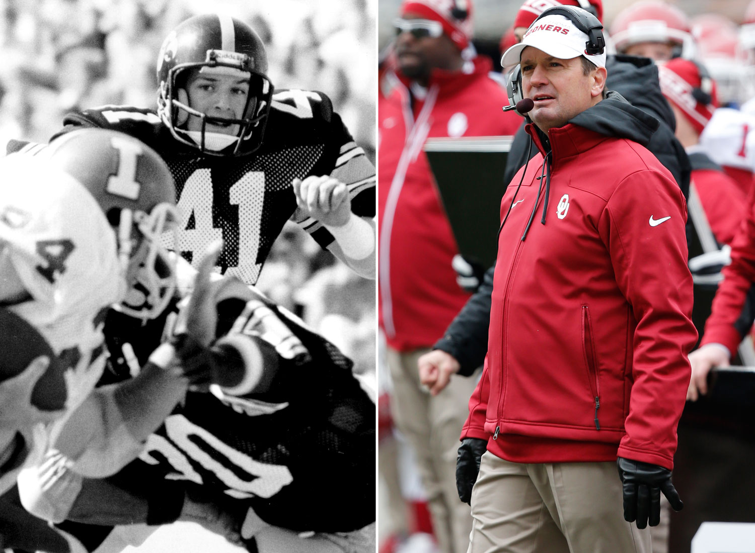 <b>Currently coaching:</b> Oklahoma<br><br> <b>College playing career:</b> Played safety at Iowa from 1979-82. He was a four-year starter and was named All-Big Ten in 1982. (UI Athletic Communications/Associated Press)