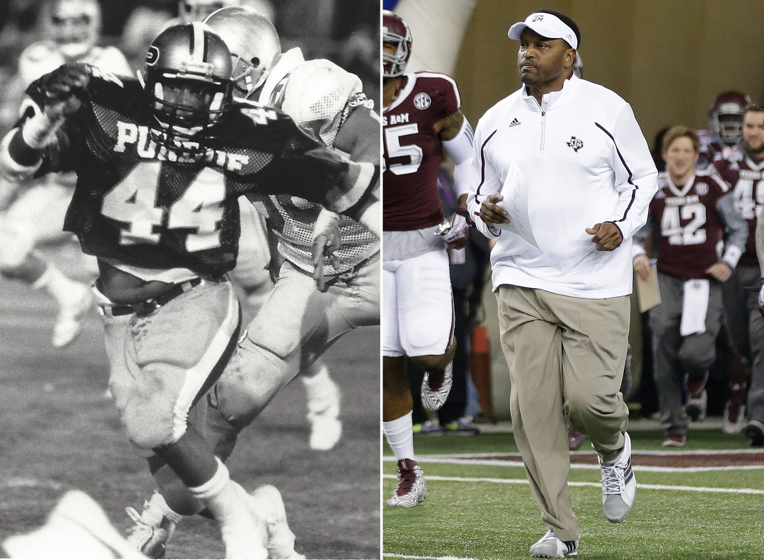 <b>Currently coaching:</b> Texas A&M<br><br> <b>College playing career:</b> Played linebacker at Purdue from 1983-86. While he began his career as a walk-on, he was a four-year starter for the Boilermakers. He is seventh in school history in tackles (375) -- three spots behind Rod Woodson, who was his teammate all four years he was at Purdue. (Purdue Athletics Communications/Associated Press)