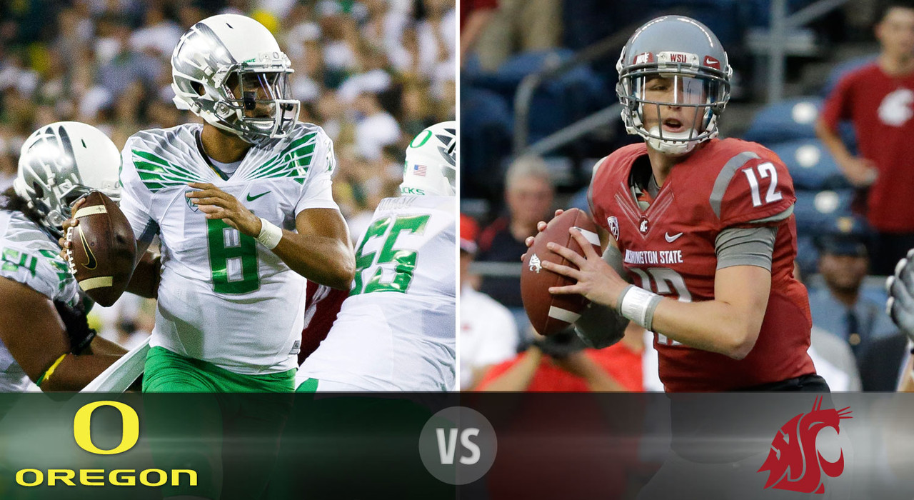<b>Details:</b> Saturday, 10:30 p.m. ET, ESPN <br><b>The skinny:</b> Heisman Trophy favorite Marcus Mariota (above) and the Ducks take their first Pac-12 road trip of the season to the Palouse to battle Connor Halliday (above) and Mike Leach's high-flying Washington State team. The Cougars put up 630 passing yards on their last opponent, so Oregon's defense will have to be on top of its game no matter what the team's potent offense is doing. <br><b>Game picks:</b> <br>Brandt: Oregon, 51-24  <br>Brooks: Oregon, 45-17 <br>Jeremiah: Oregon, 48-24  <br>Fischer: Oregon, 51-28  <br>Goodbread: Oregon, 58-30 <br>Huguenin: Oregon, 56-30
