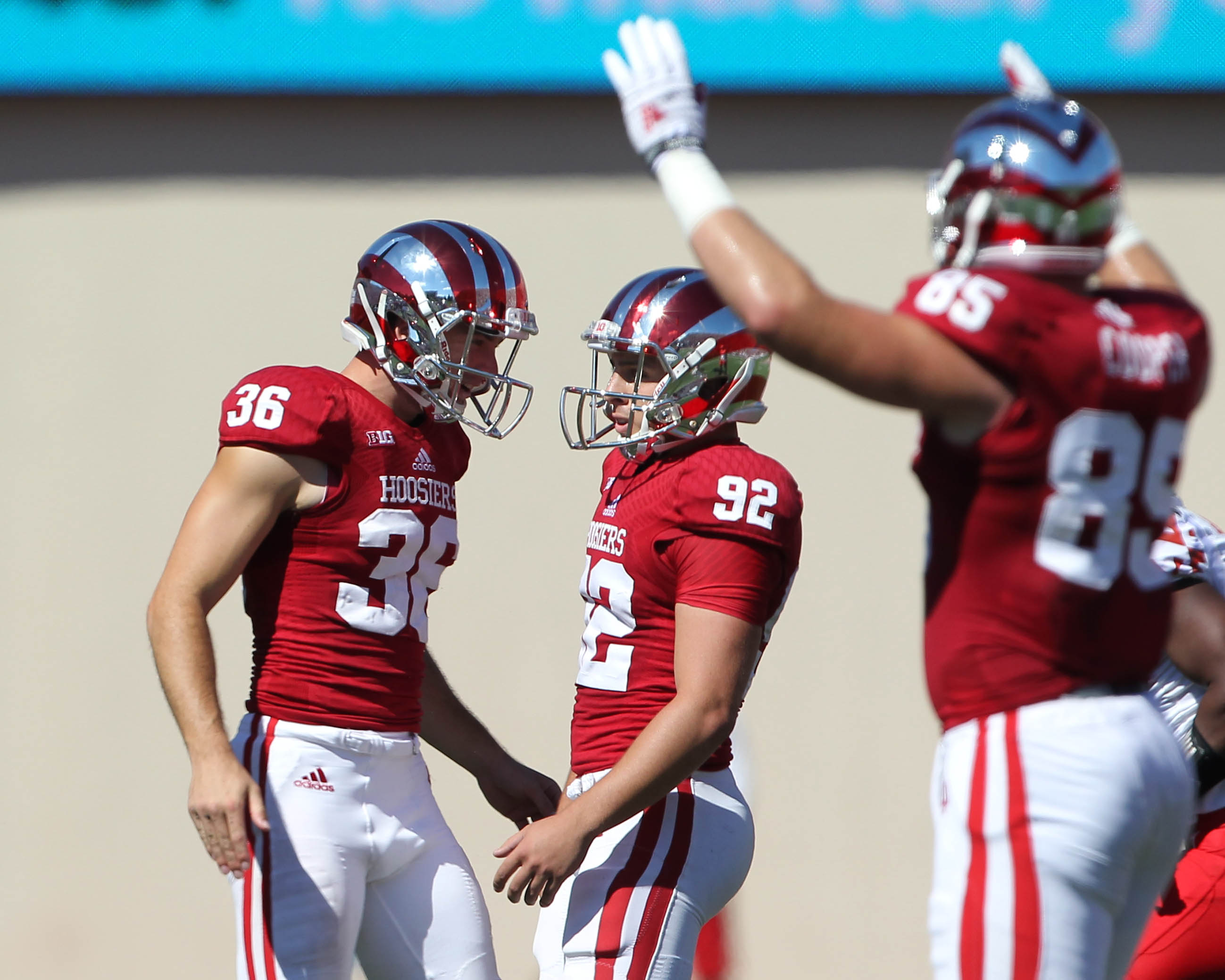 Indiana Hoosiers place kicker Griffin Oakes (92) is congratulated by punter Erich Toth (36) after making a field goal during the second quarter against the Maryland Terrapins at Memorial Stadium. (Pat Lovell-USA TODAY Sports)