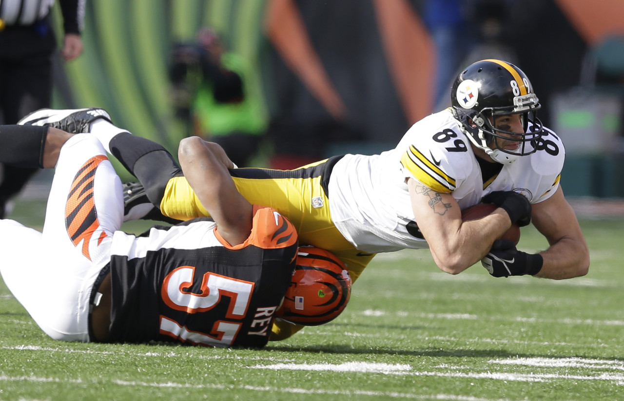 Matt Spaeth, Steelers tight end, matt spaeth catch vs. Bengals 2014