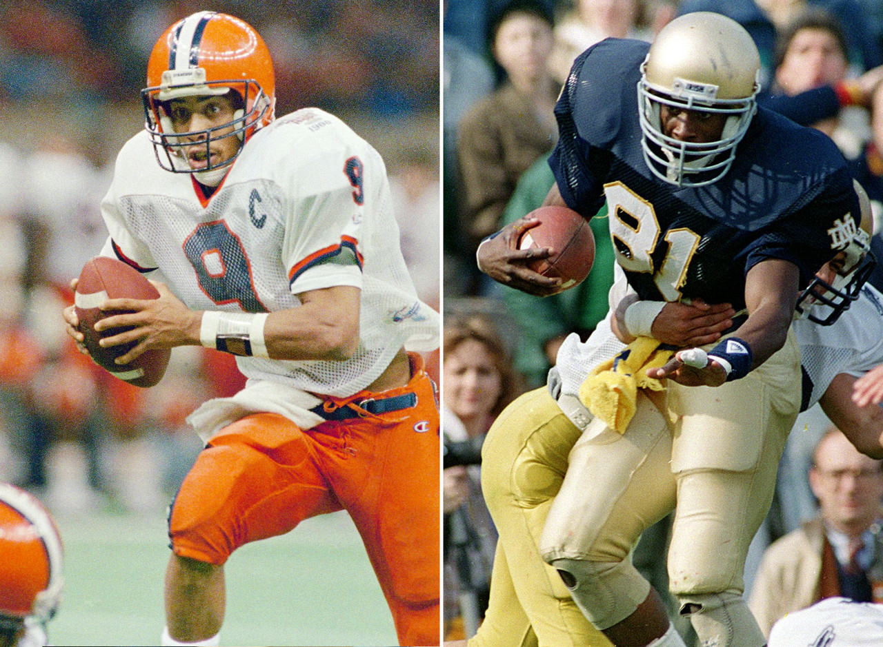 <b>The winner:</b> Notre Dame WR Tim Brown<br /> <b>The skinny:</b> Brown caught 39 passes for 846 yards and three TDs, ran for 144 yards and a TD and had 857 return yards and three touchdowns. Those aren't Heisman numbers. McPherson threw for 2,341 yards and 22 TDs, rushed for 230 yards and five scores and also caught a TD pass in helping Syracuse finish 11-0-1. He was second in the voting.