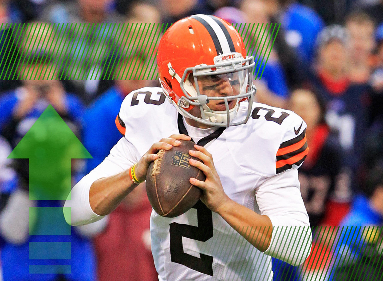 <p>Well, the moment most of the football world has been waiting for has arrived: Manziel is starting on Sunday. He'll face a tough test against a stingy Bengals pass defense that has only allowed 13.44 fantasy points per game to opposing quarterbacks over the last month. However, they've been gashed on the ground, which is where most of Manziel's fantasy appeal comes from. I'm not trusting him in the fantasy playoffs, but I'm definitely taking a stab with him in daily leagues.</p>