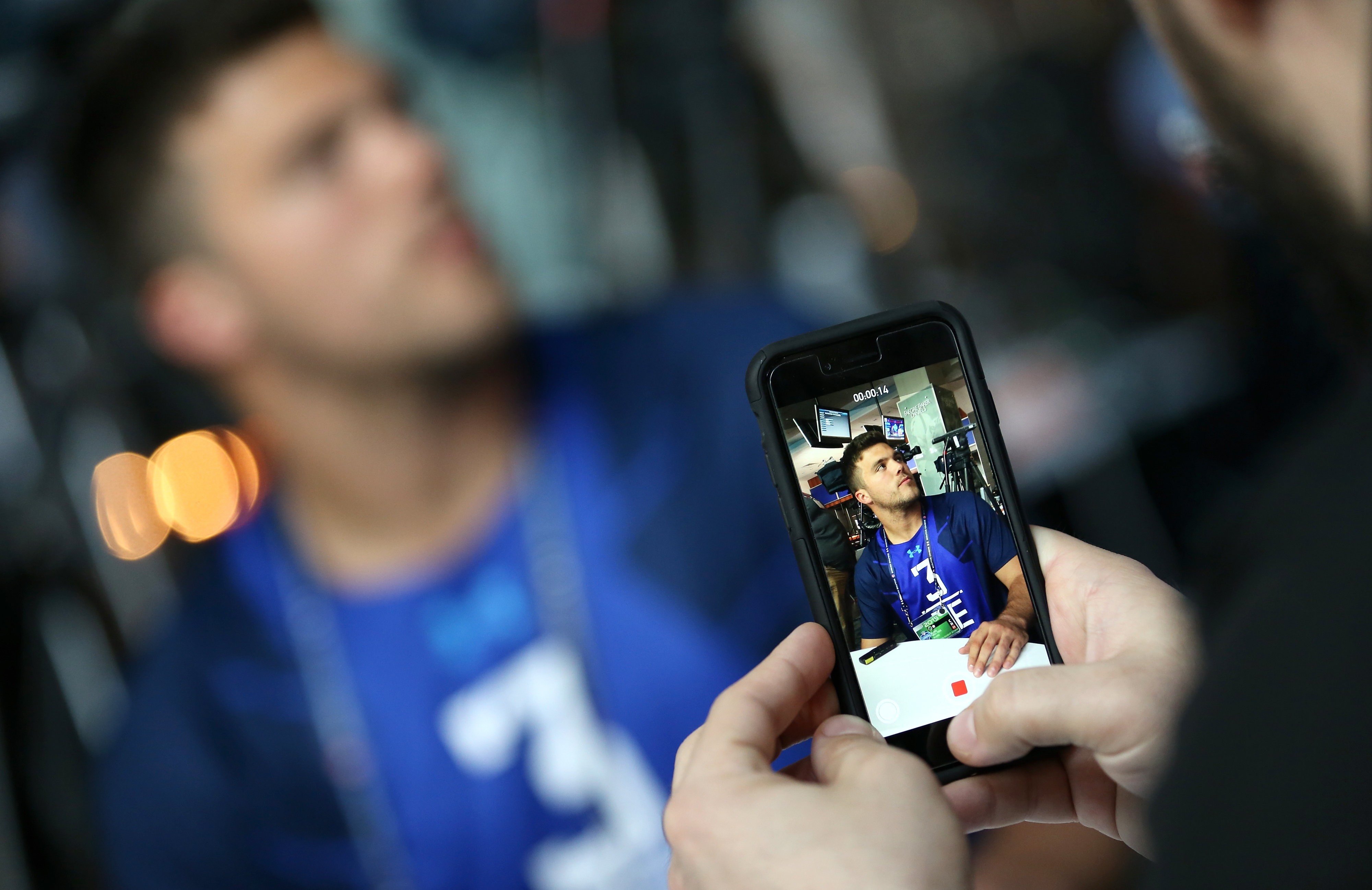 Oklahoma tight end Blake Bell speaks with reporters during the 2015 NFL Scouting Combine at Lucas Oil Stadium on Wednesday, February 18, 2015 in Indianapolis, IN. (Johnny Vy/NFL)
