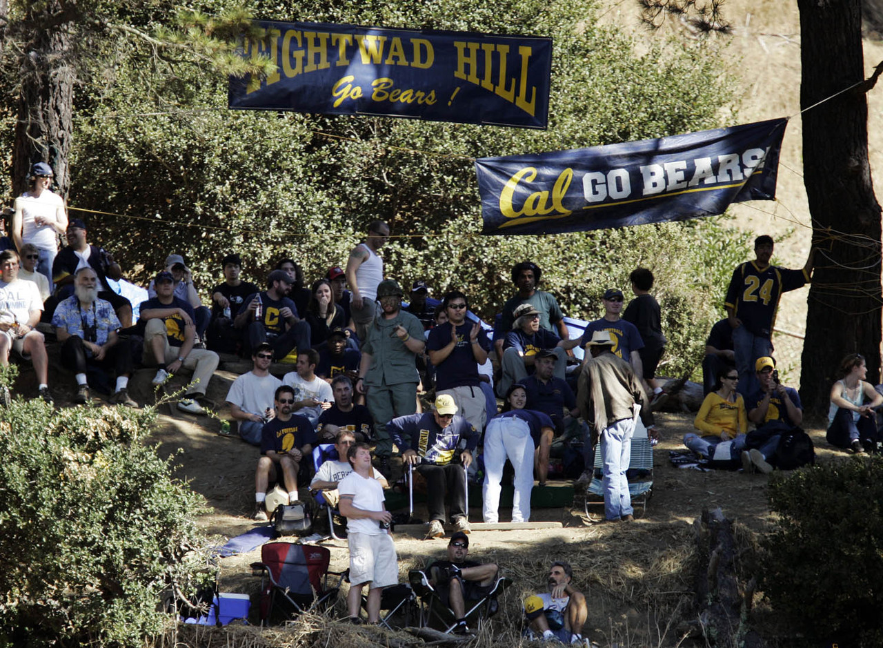 "Charter Hill, on the east side of California Memorial Stadium, is also known as Tightwad Hill. It is so named because Cal fans can catch a fine view of the game from the hill without buying a ticket, and the hill's supporters once <a href=""http://www.nytimes.com/2006/12/04/sports/ncaafootball/04tightwad.html?_r=0"" target=""new"">successfully fought the school's plans</a> to obstruct the view with a stadium renovation. If you like a long history with your traditions, this one's been around for 92 years."