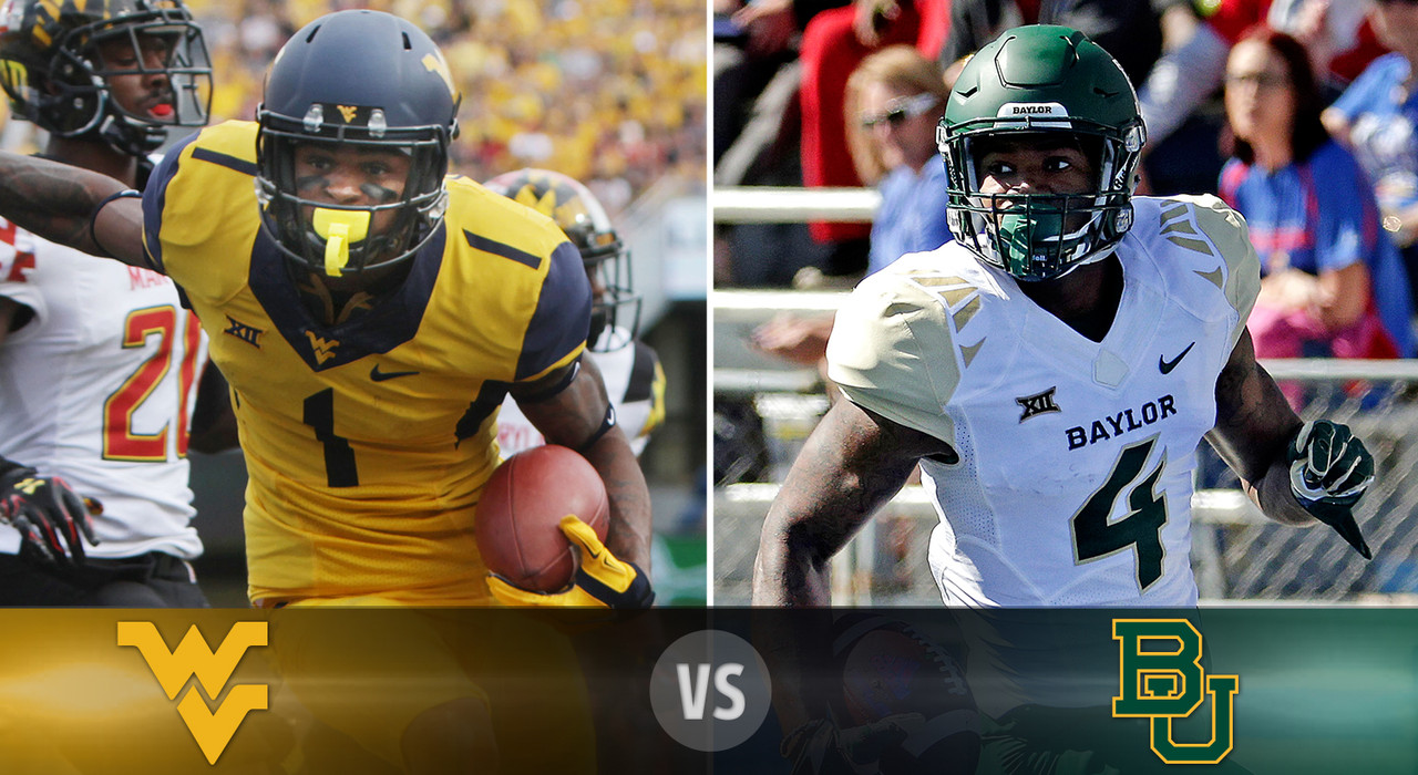 <b>Details: </b> Saturday, Noon ET, FOX <br><b>What's at stake? </b>Baylor draws a West Virginia team wounded by two consecutive losses in Big 12 play, but the Mountaineers' offense can score with anyone. Baylor looks to stay undefeated, and keep pace with TCU and Oklahoma State in the conference race. <br><b>Matchup to watch: </b> West Virginia WR Shelton Gibson vs. Baylor CB Xavien Howard <br><br><b>Game picks:</b>  <br>Brandt: Baylor, 52-24 <br>Brooks: Baylor, 62-42 <br>Davis: Baylor, 55-40 <br>Goodbread: Baylor, 45-30 <br>Jeremiah: Baylor, 58-34 <br>Reuter: Baylor, 56-35 <br>Zierlein: Baylor, 51-24